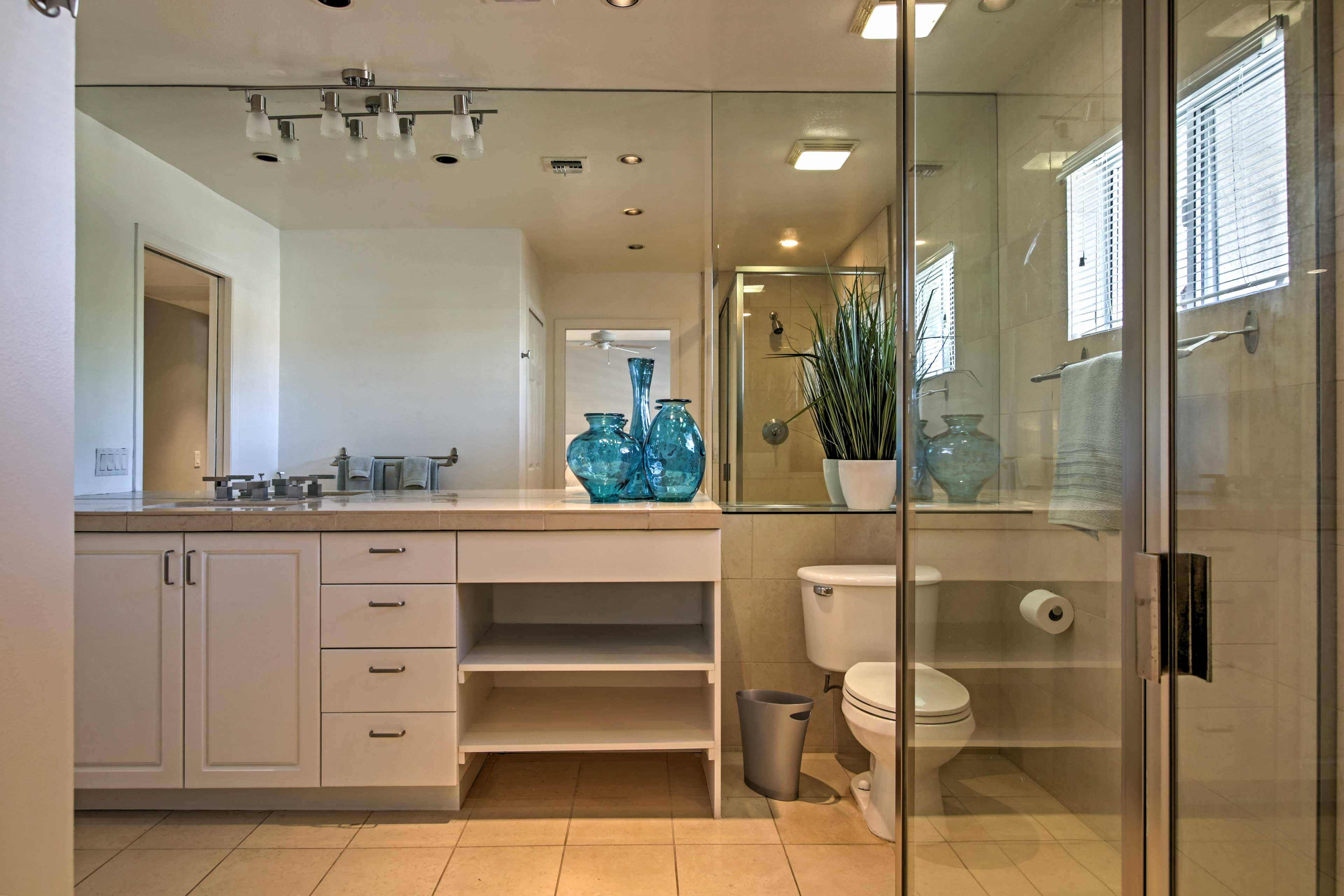 Each bathroom offer a slick and sleek design.