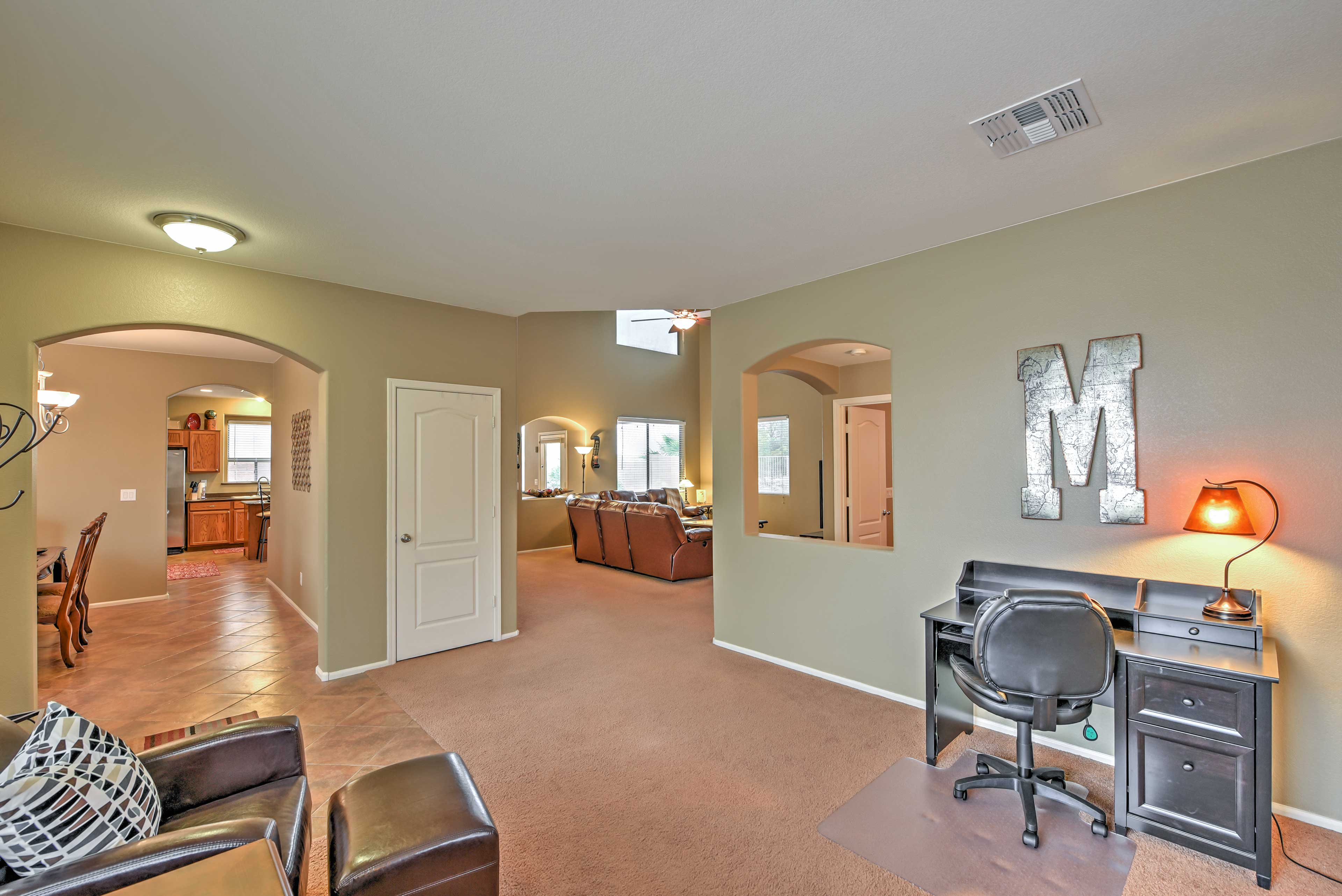 The interior of the home offers 3,000 square feet of living space.