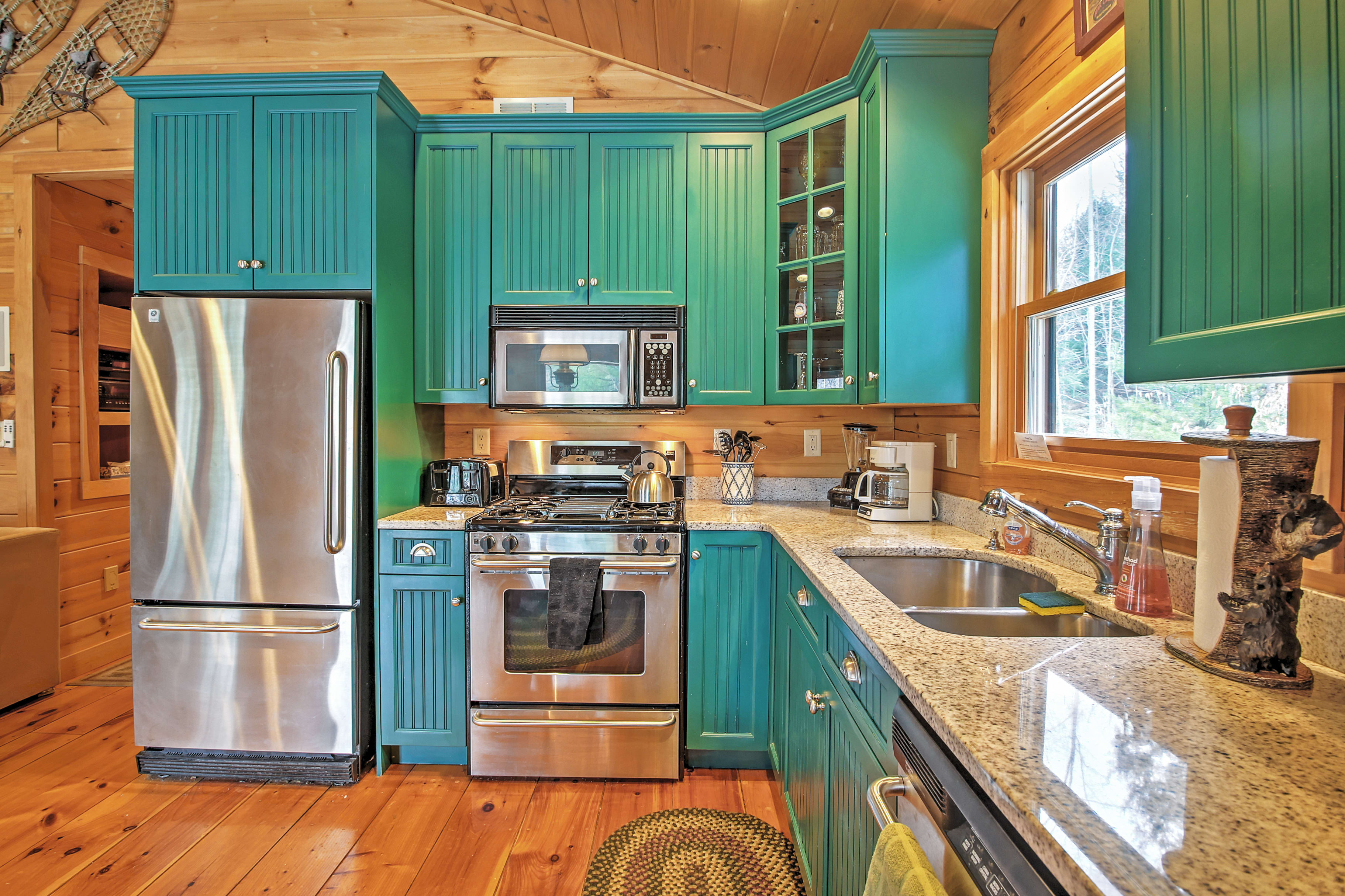 This updated kitchen is fully equipped with everything you need to cook your favorite meals.