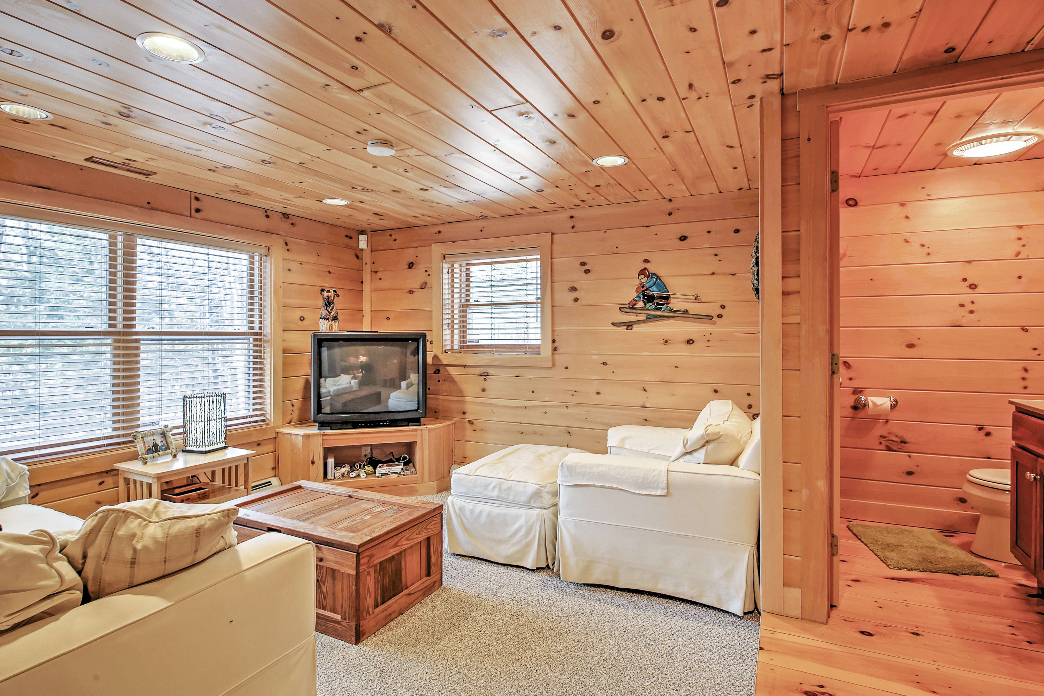 Unwind downstairs in the cozy den.