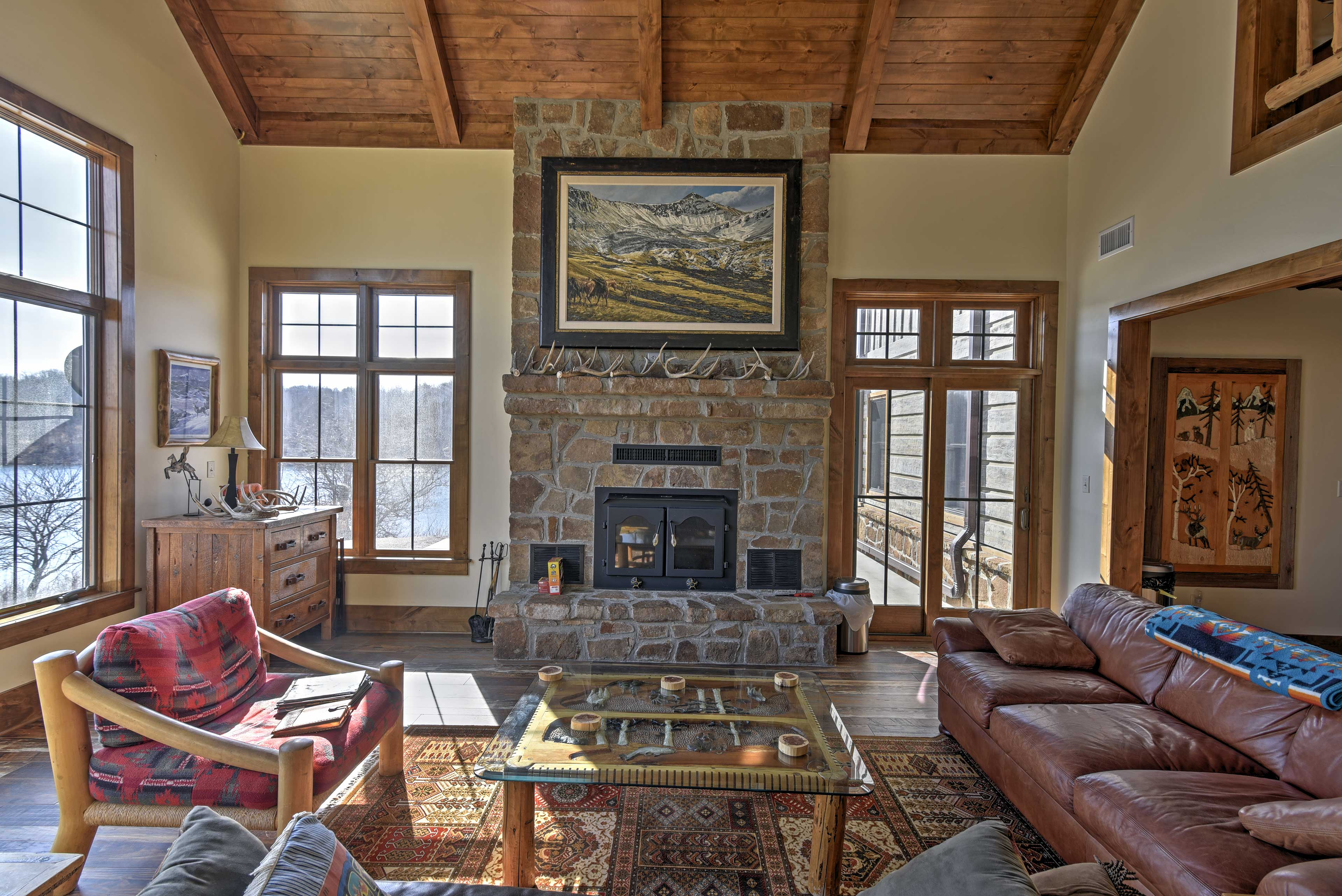Warm your toes by the wood-burning fireplace.