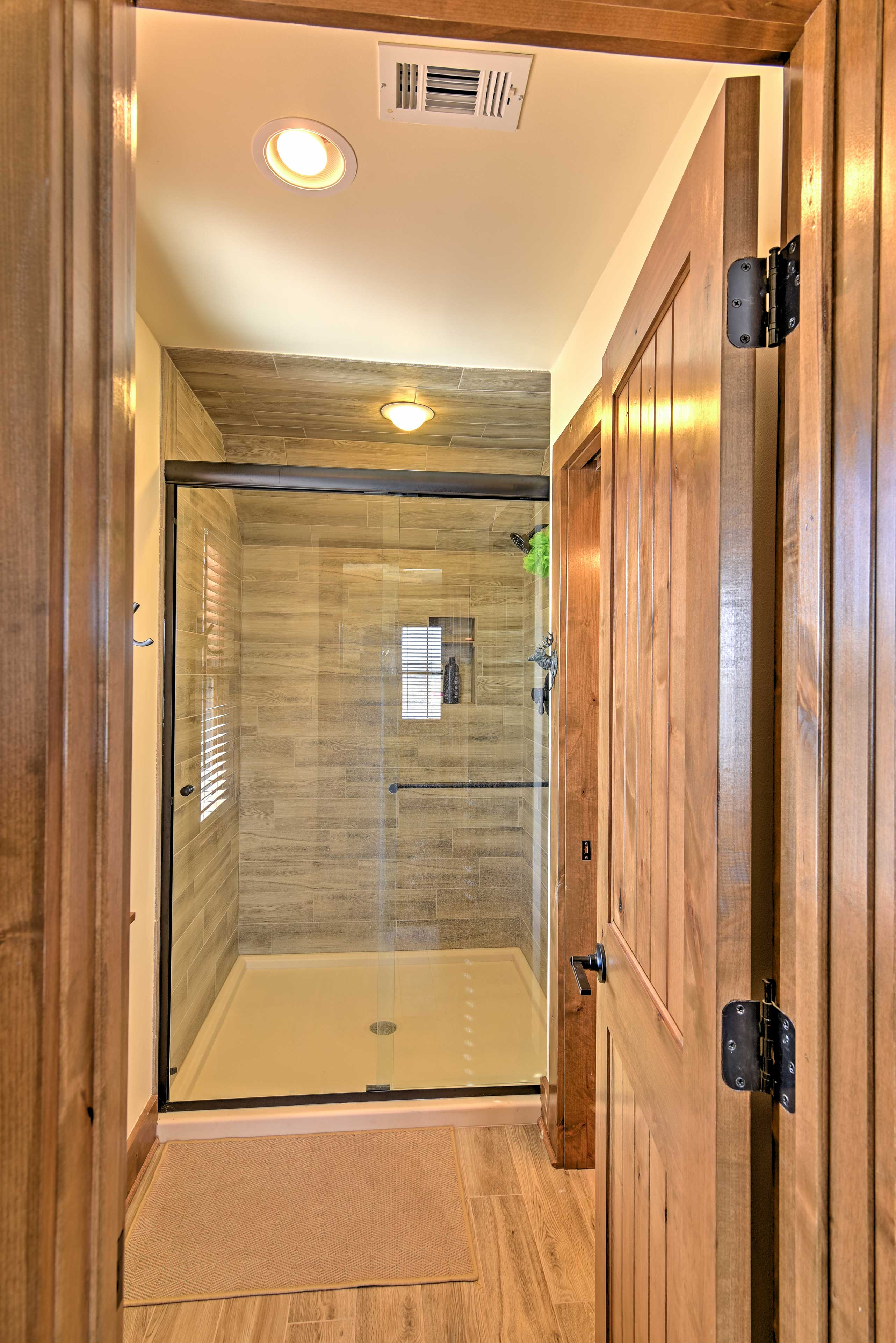 Rinse off in this pristine shower.