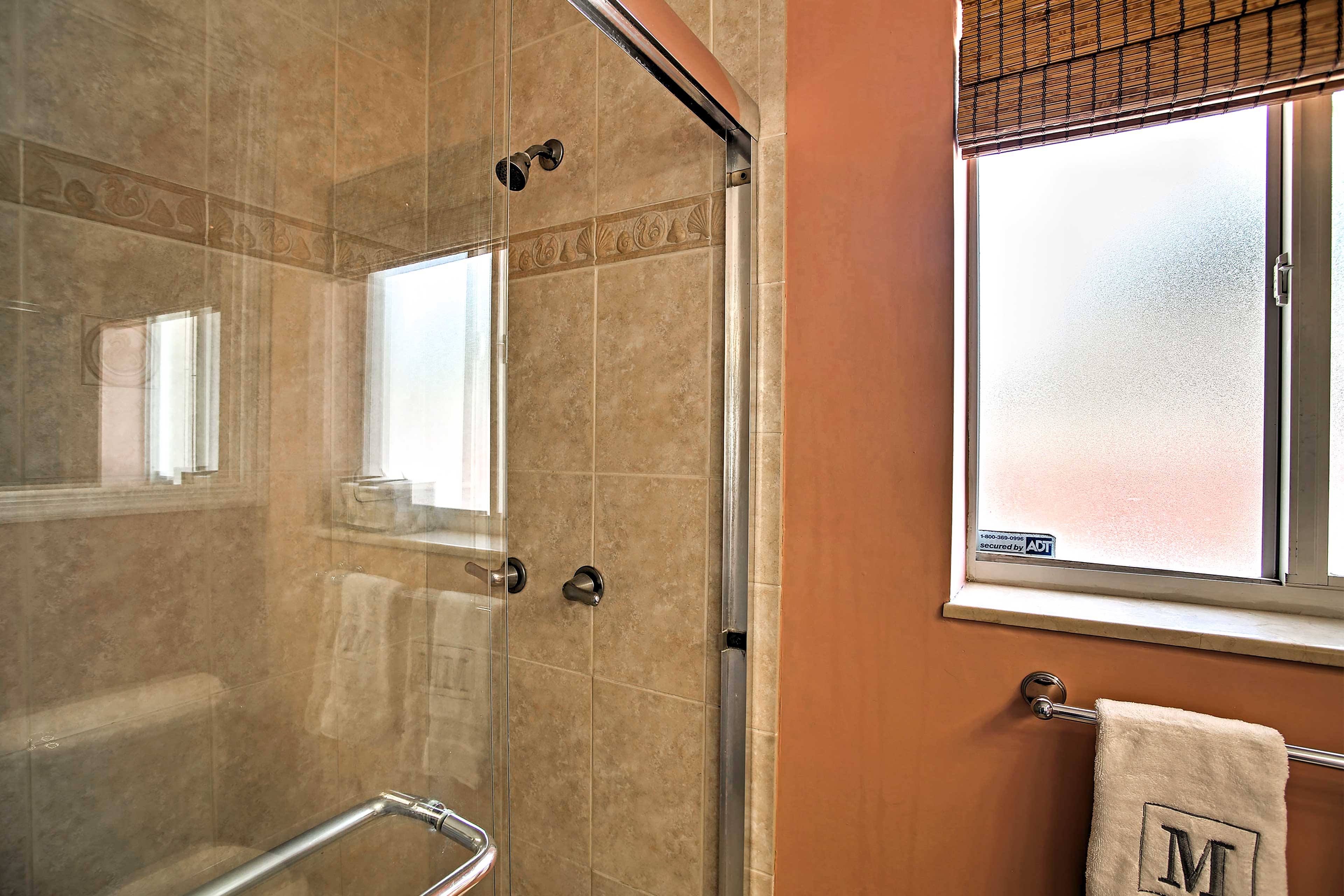 Rinse off in the large glass shower.