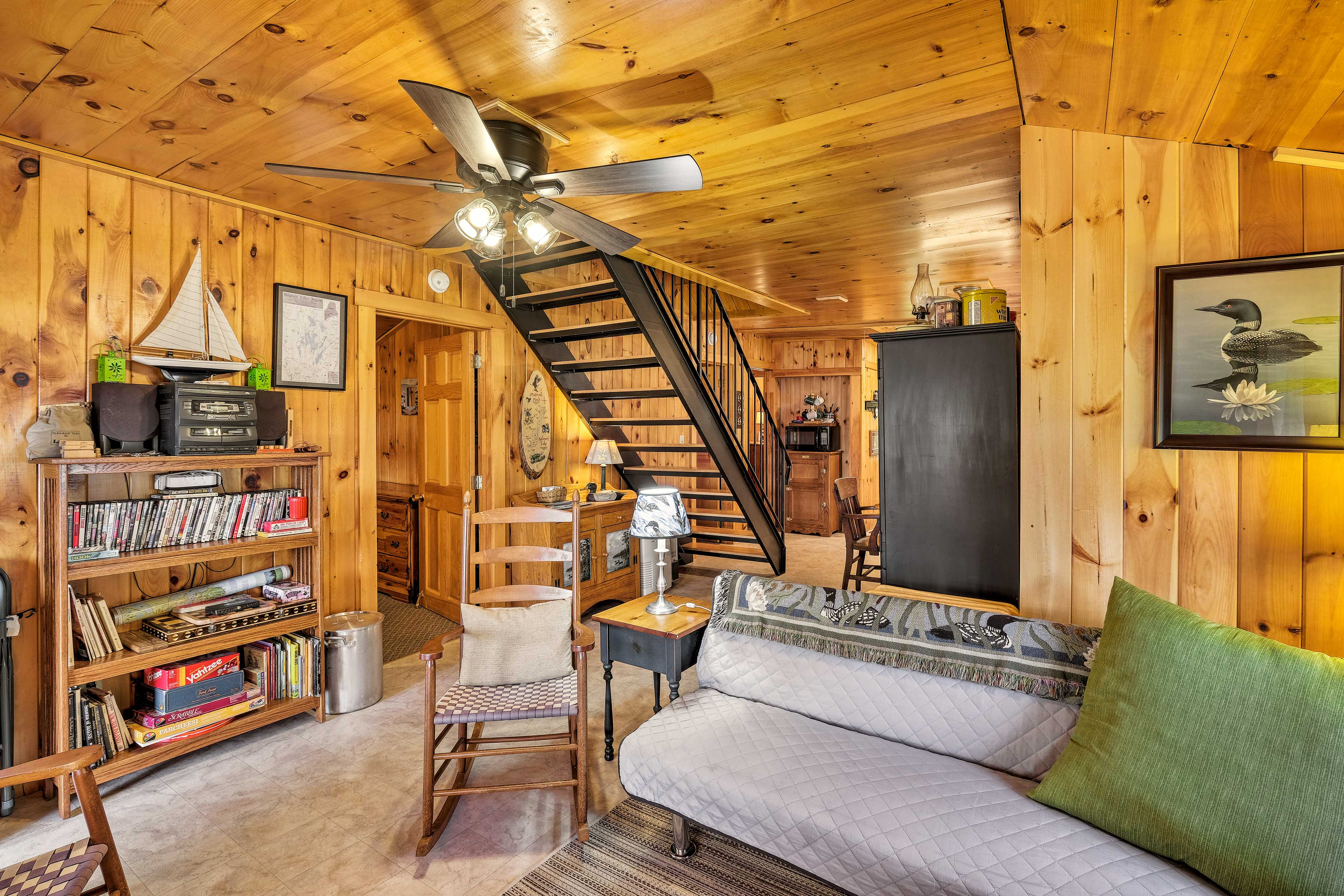 The futon in the living area offers sleeping for an additional guest.