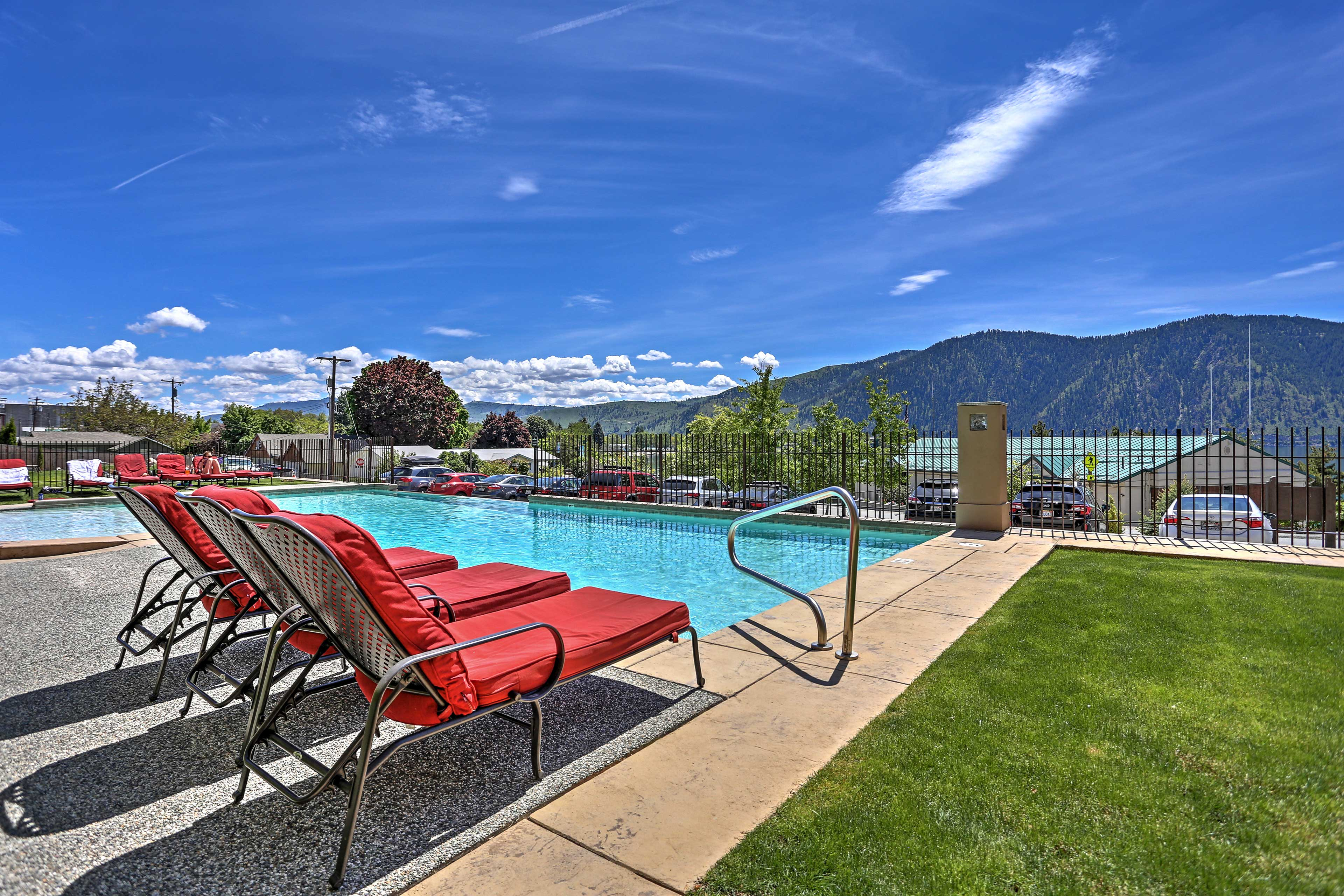 The infinity edge pool was designed to give you the best vacation possible on Lake Chelan.