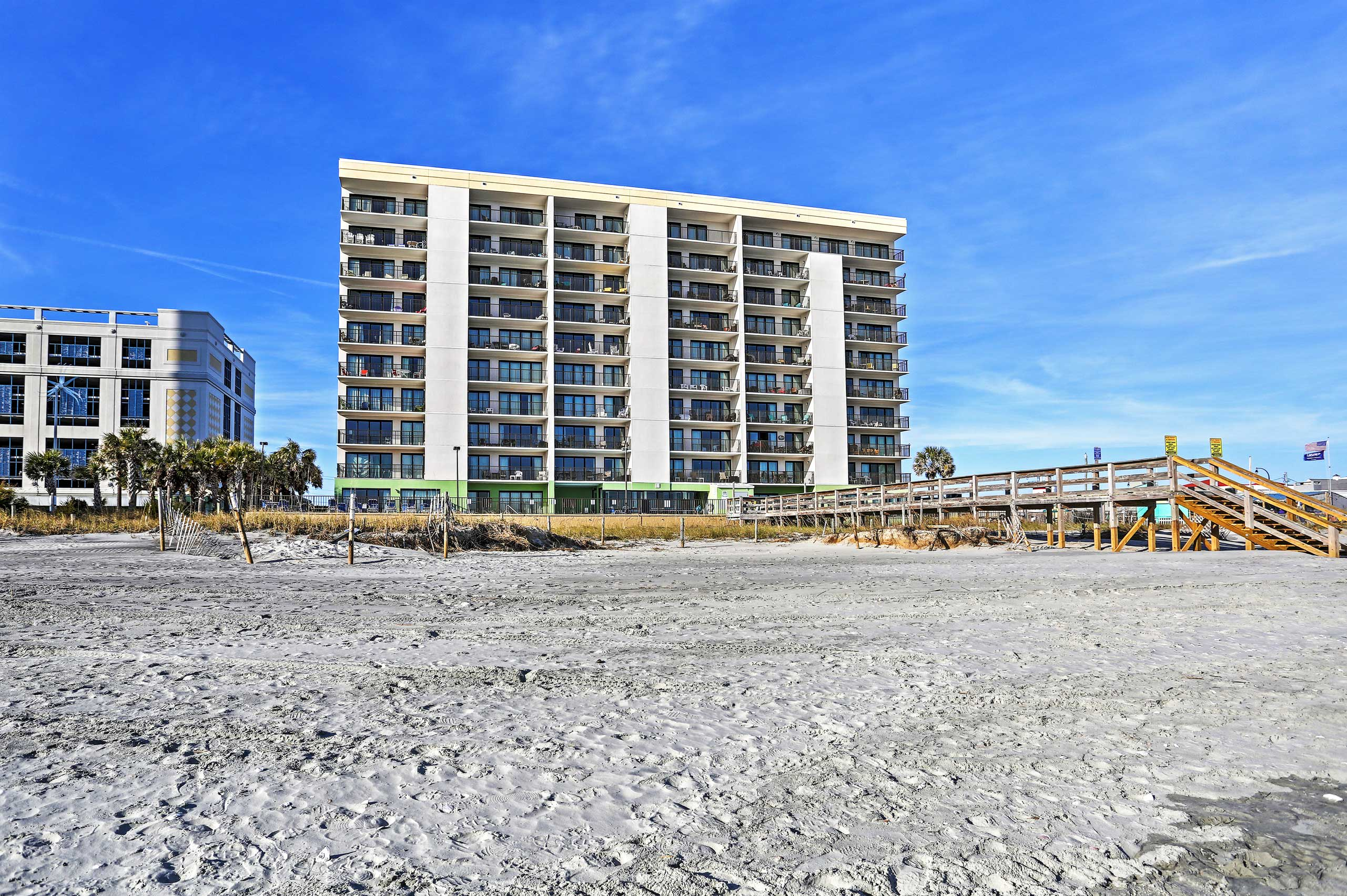 The unit is situated on the 7th floor of an oceanfront condo complex.