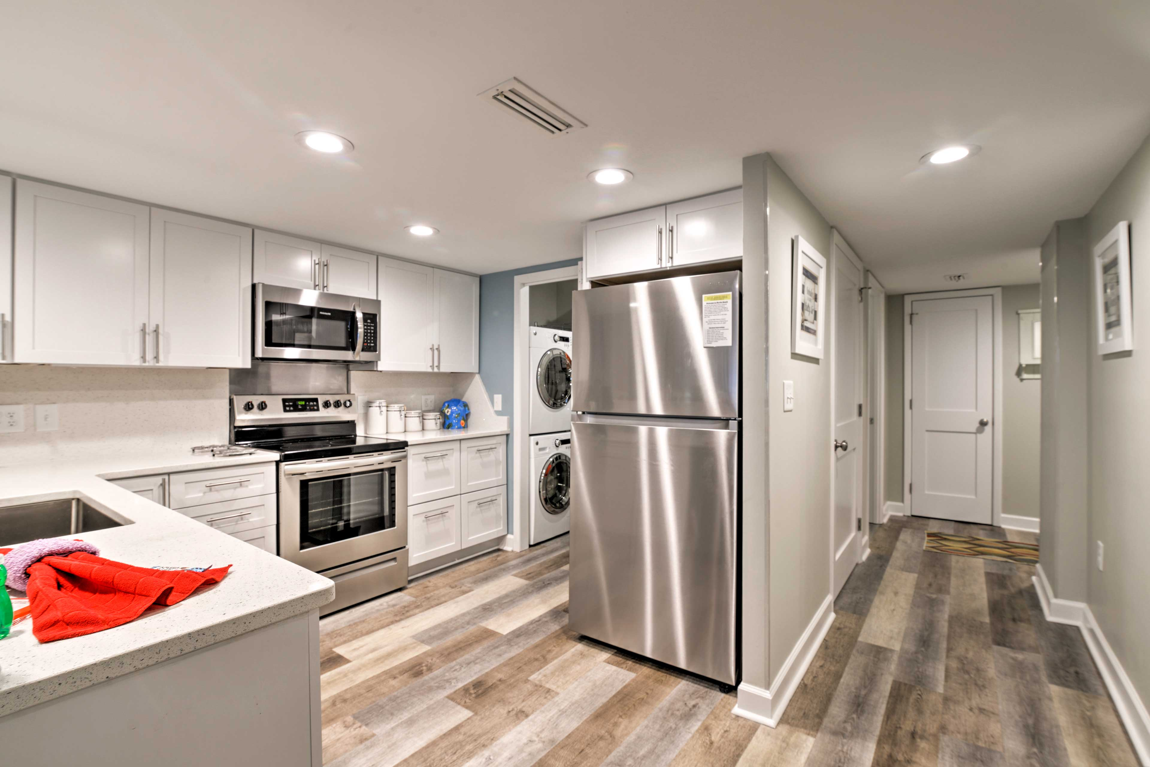 The in-unit laundry machines are located just off of the kitchen.