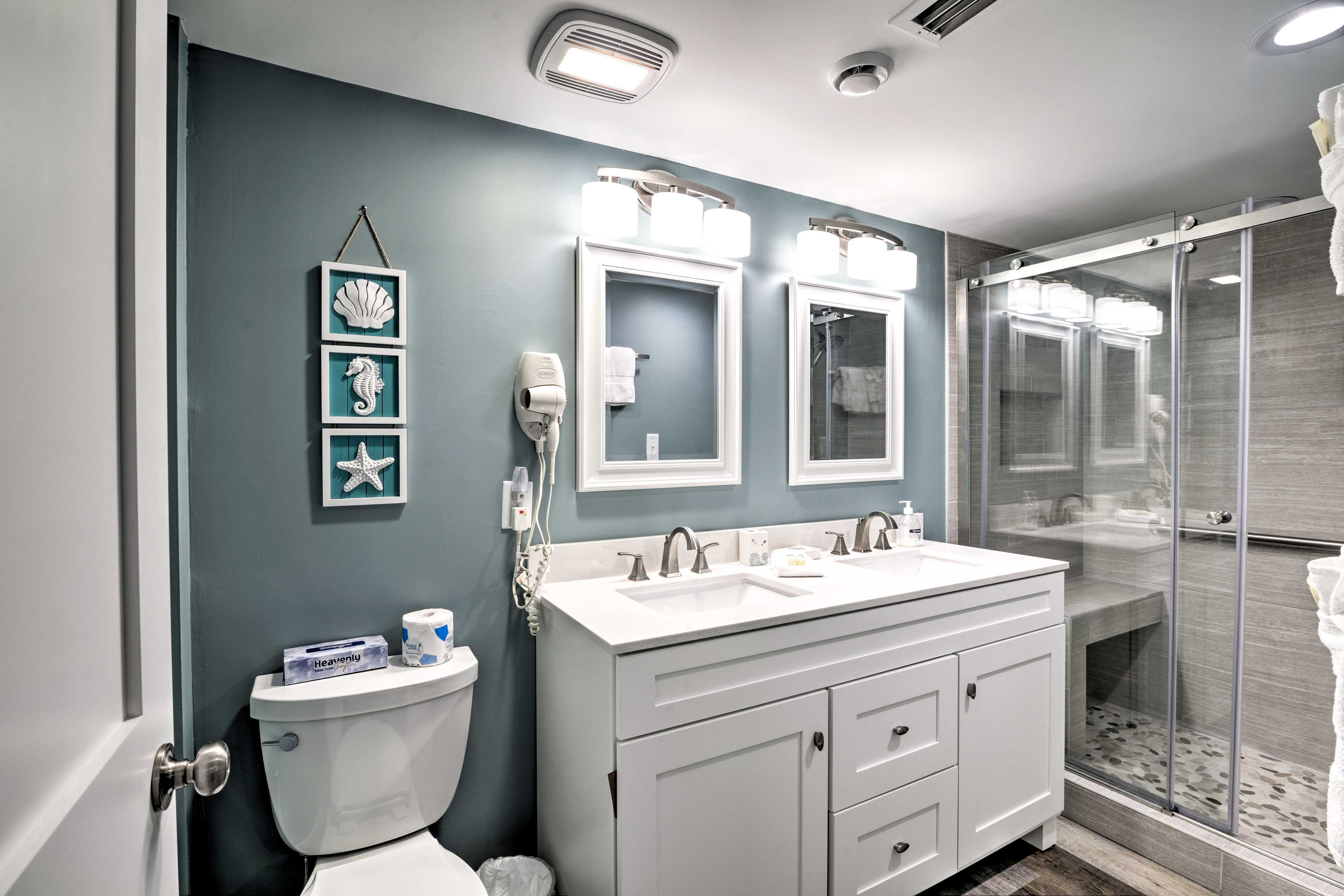 The master en-suite bathroom offers a new double vanity and walk-in shower.