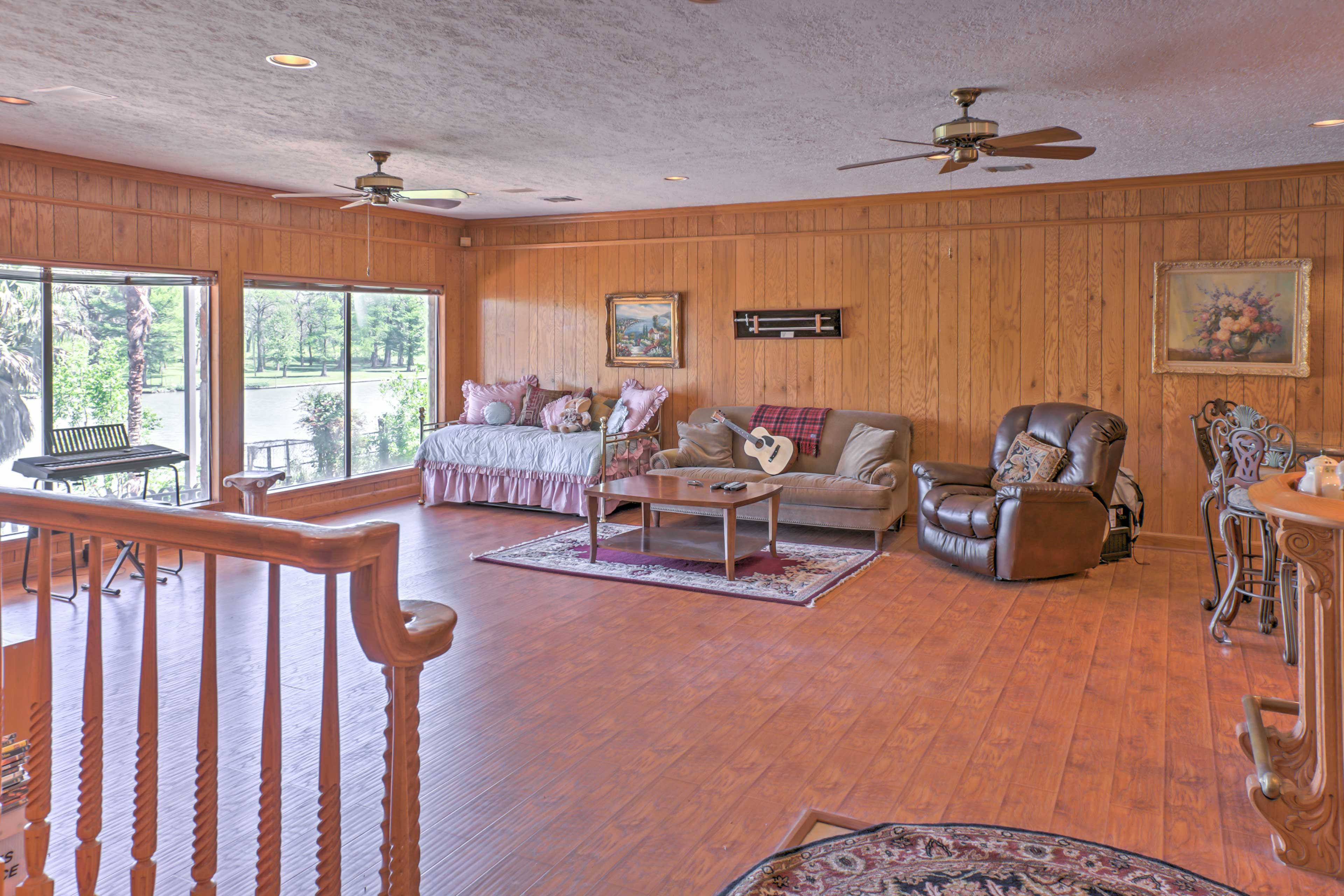 The family room features couch seating and a pull-out bed!