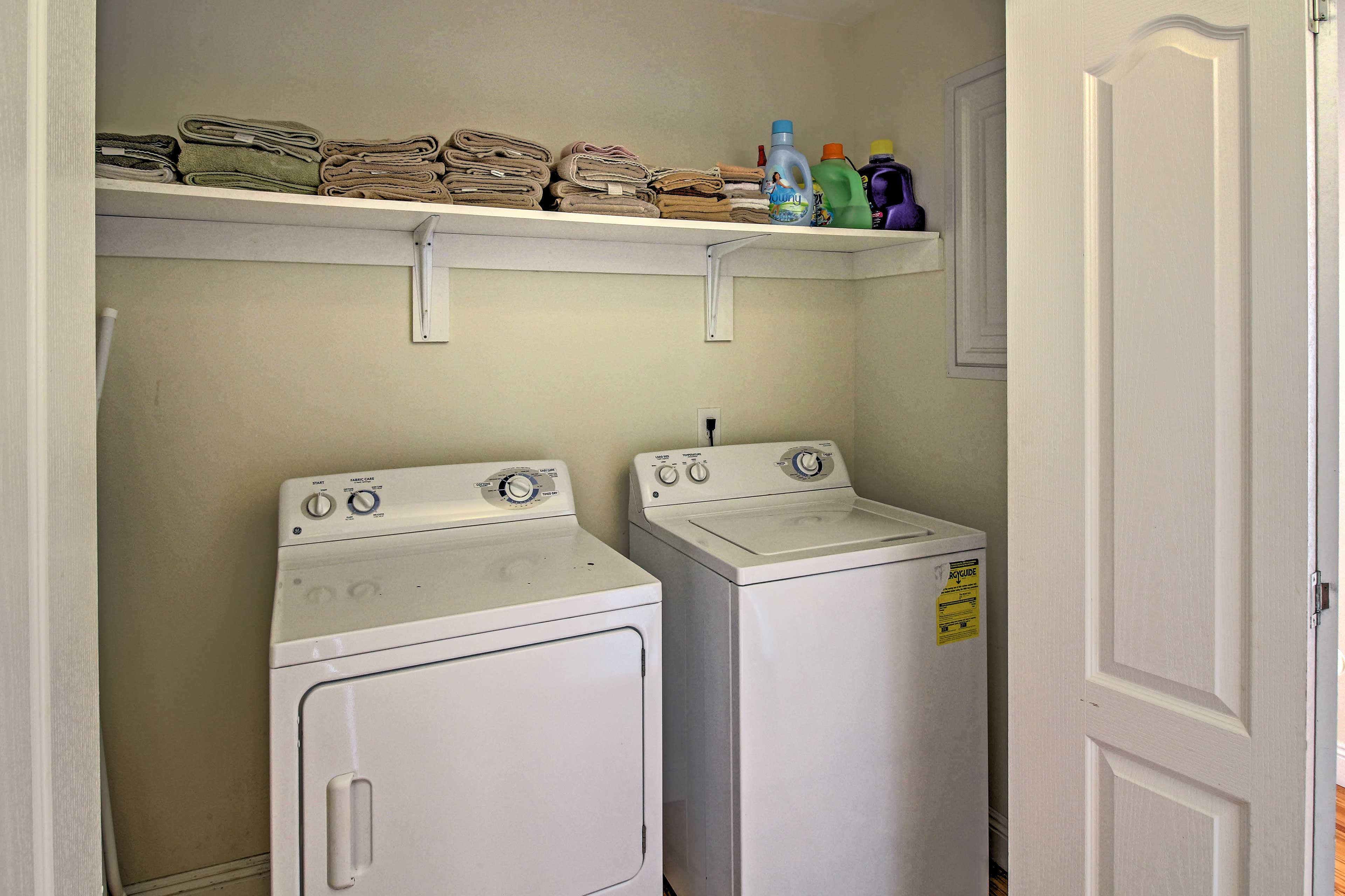 No need to pack your entire wardrobe as this home offers a washer and dryer.