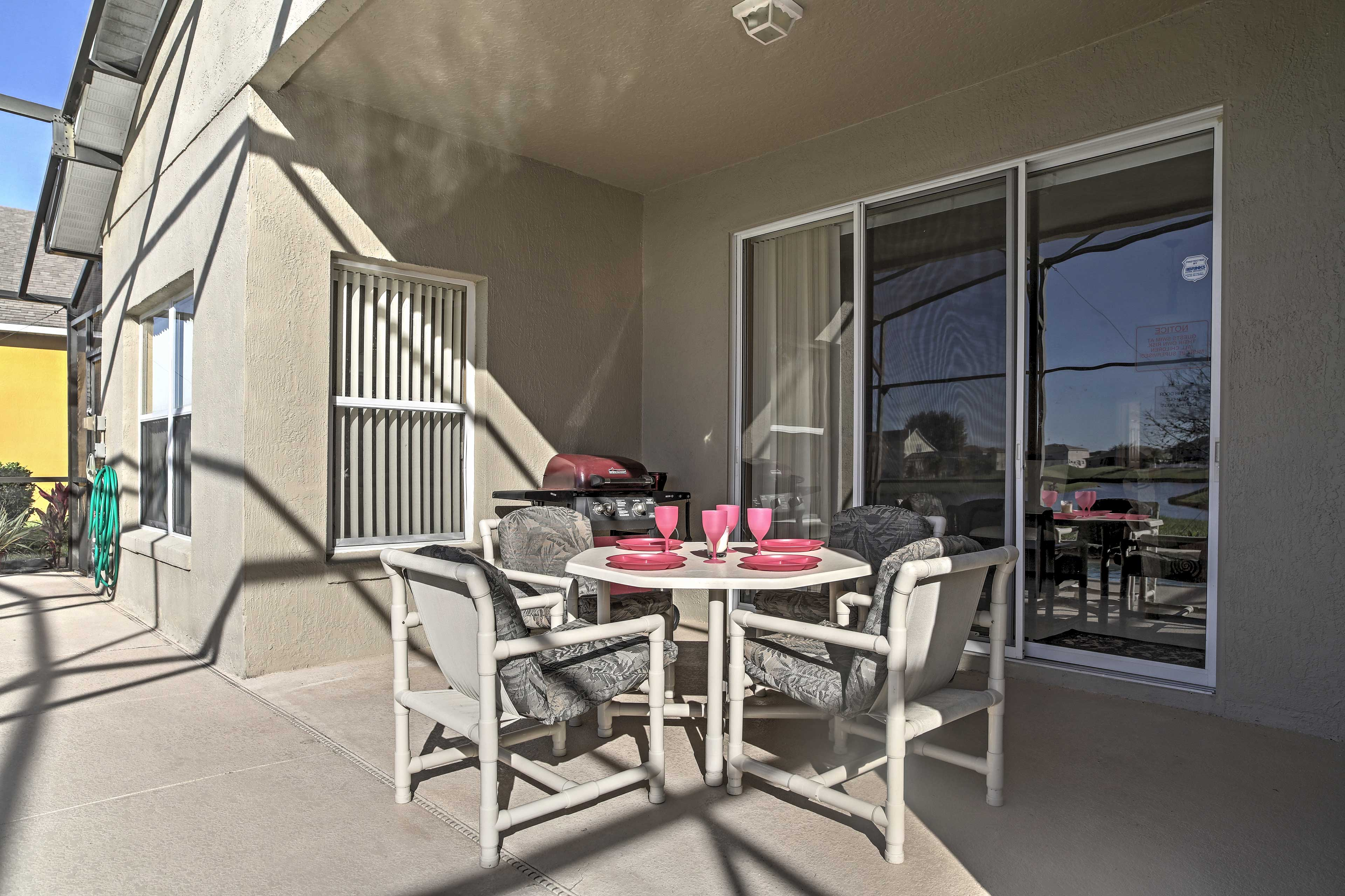 The covered patio is perfect for a casual meal at home.