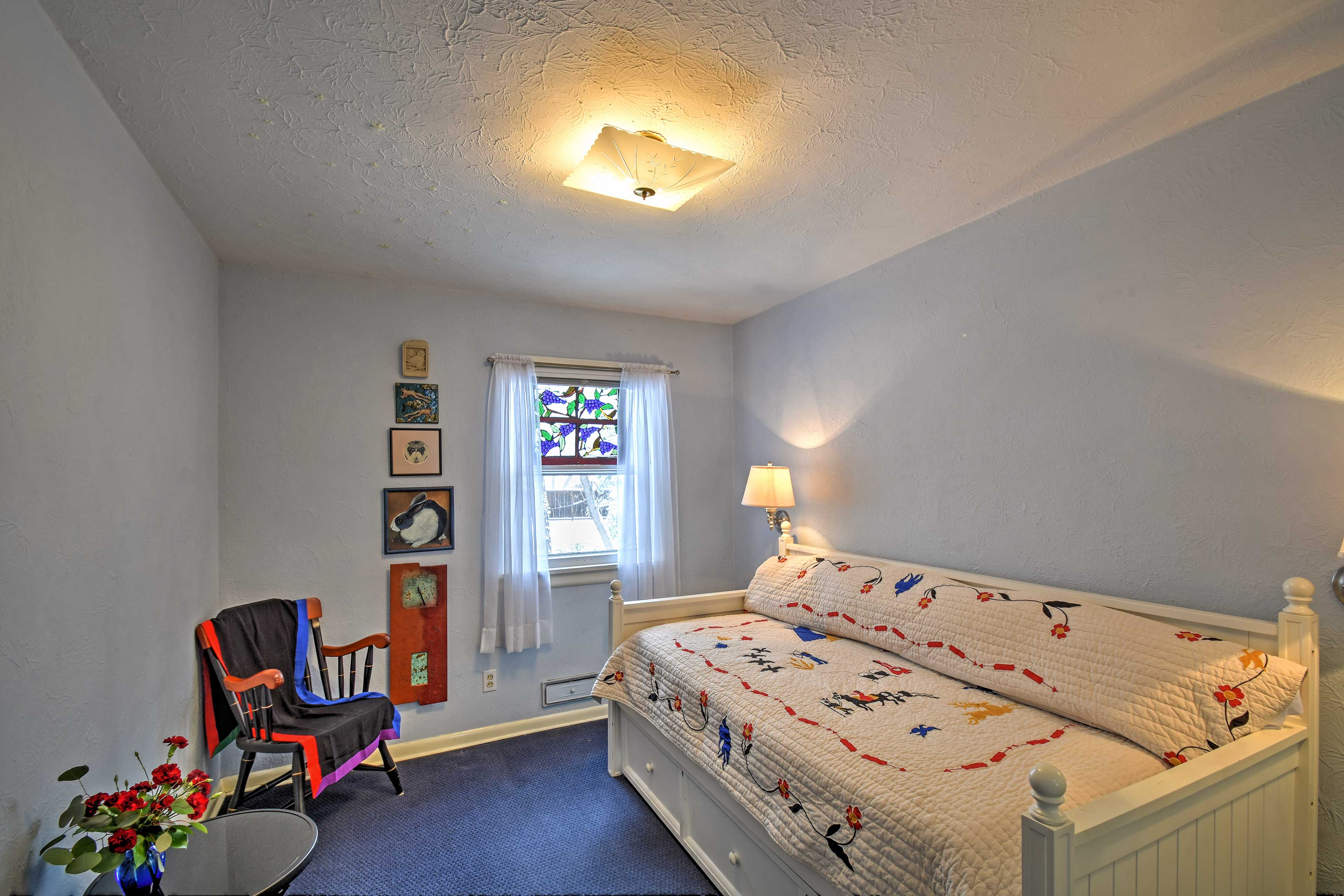 The third bedroom has a full twin-sized daybed with a trundle.