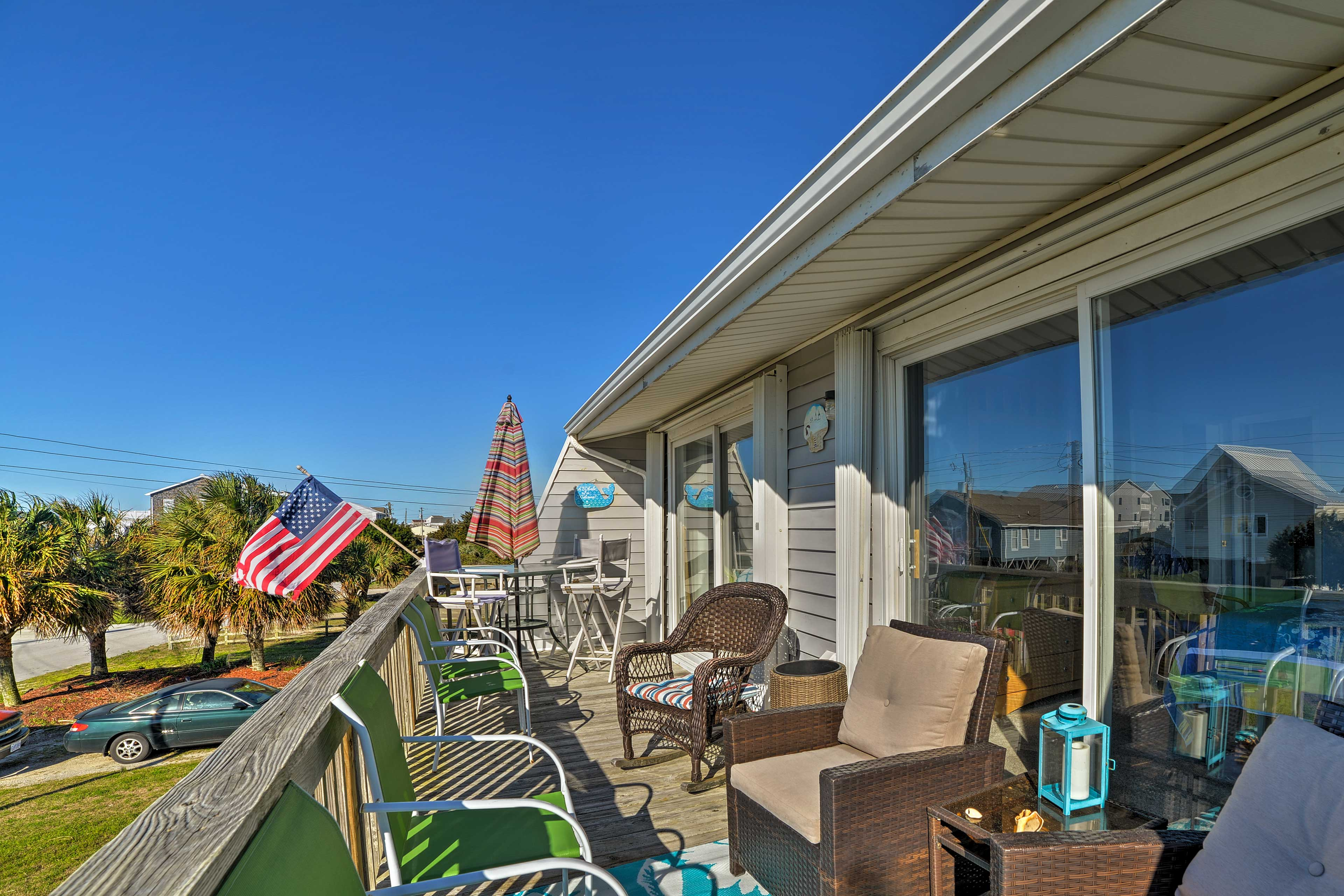 Enjoy sipping your morning coffee on the private deck.