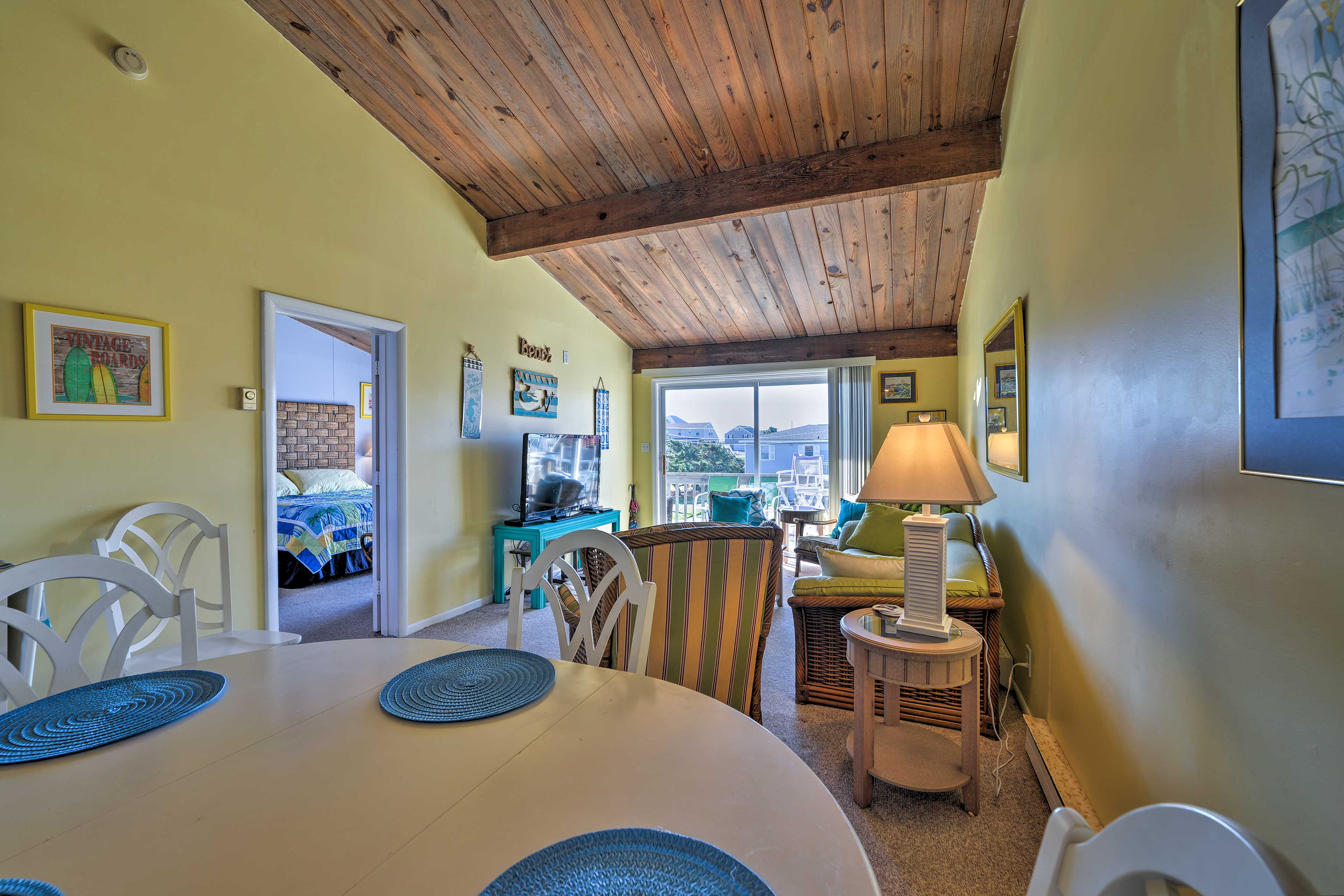 You'll love the long, open beam cathedral ceilings.