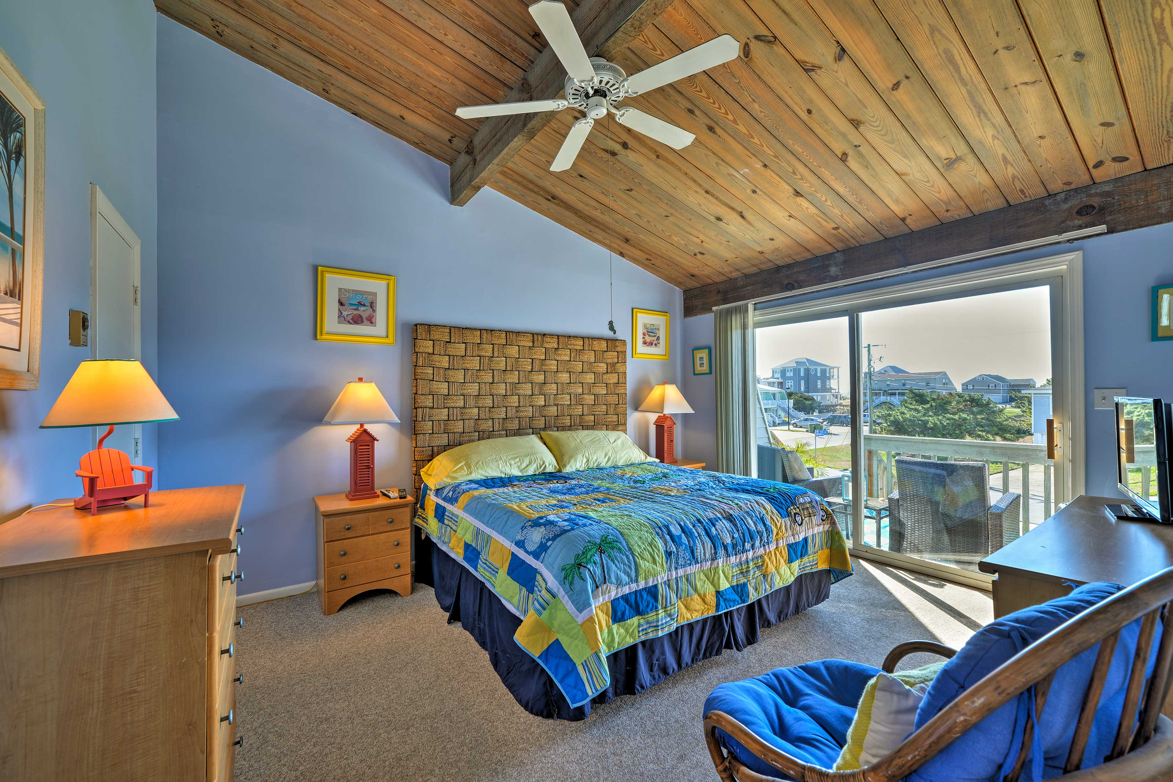 The master bedroom offers a plush king-sized bed.
