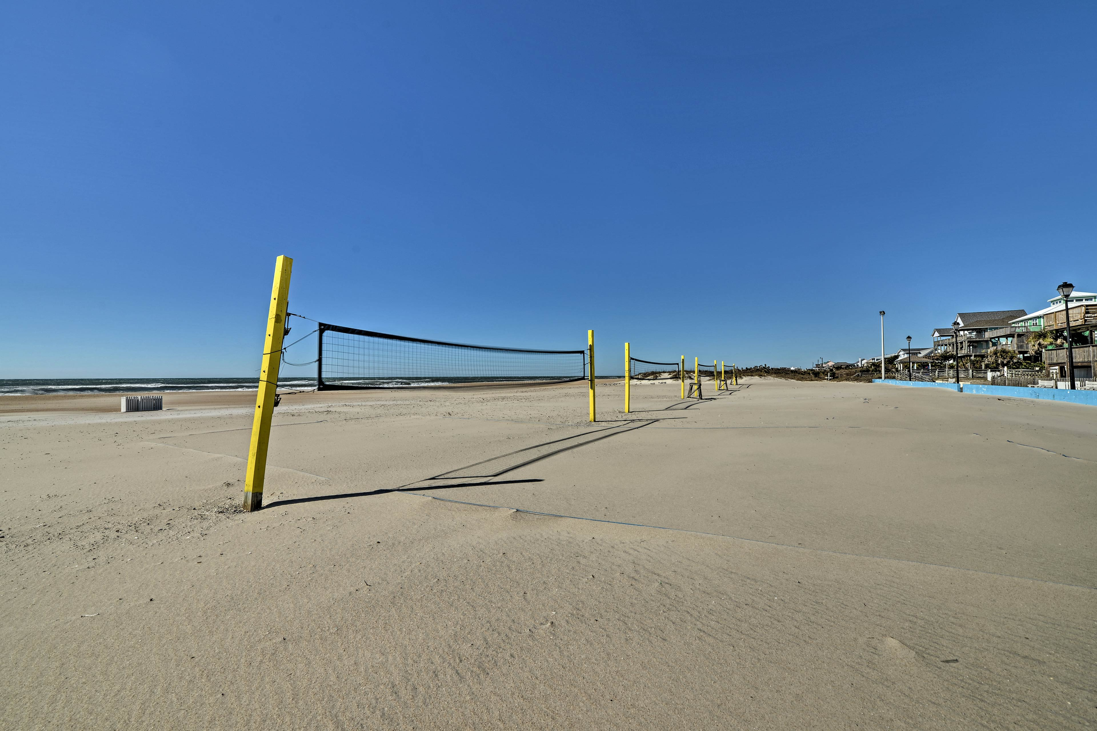 Head to the sandy shore and play a game of volleyball!