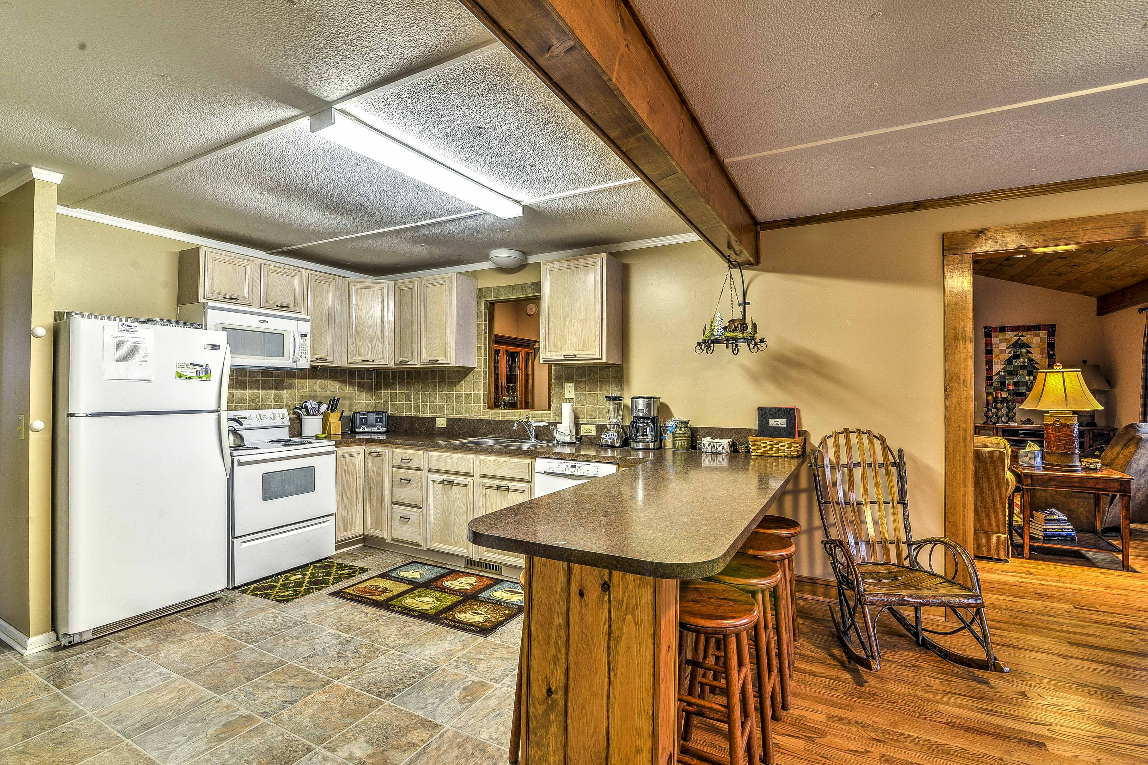 Head into the fully equipped kitchen to make your meals.