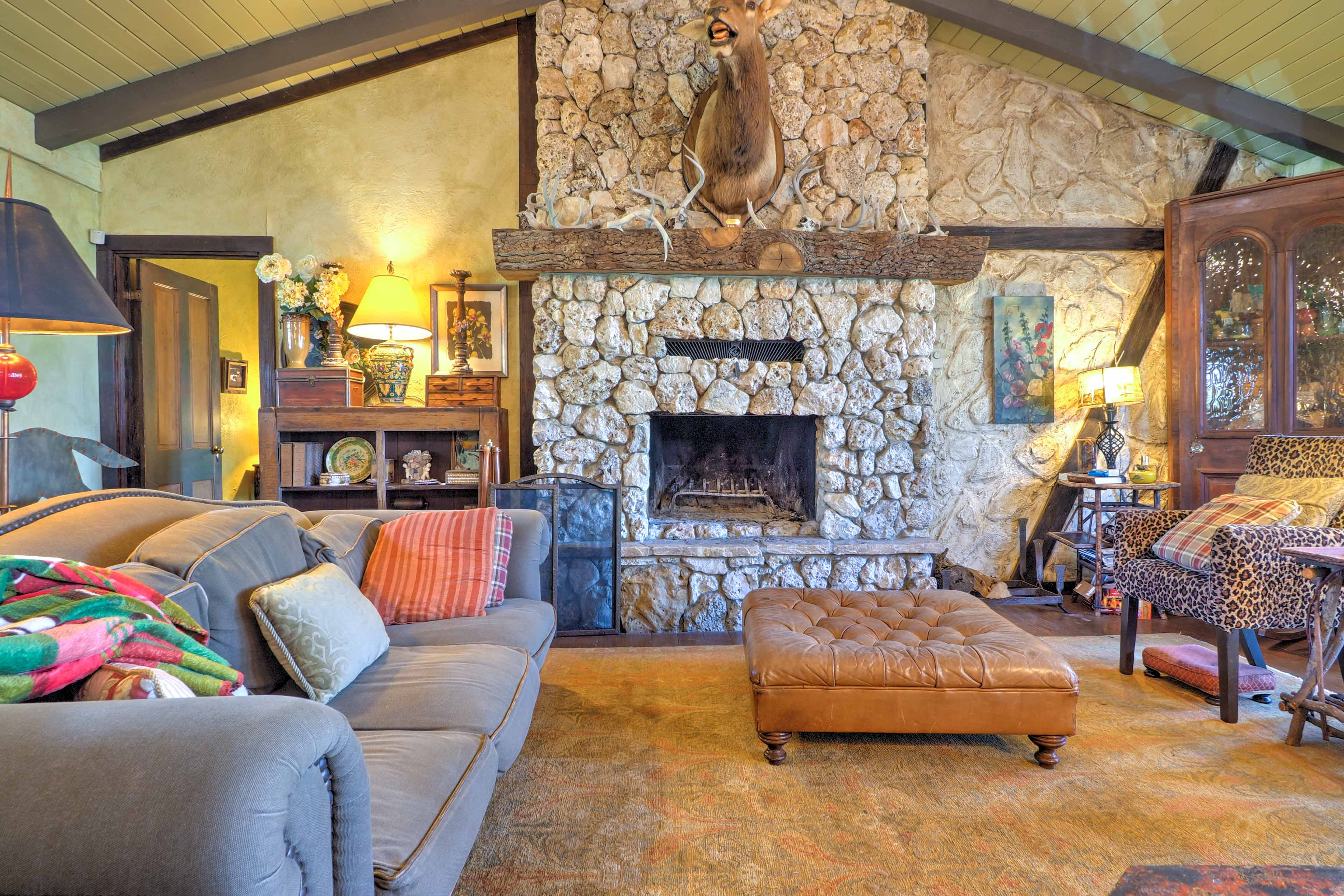 When its cold outside, warm up next to 1 of the 2 stone wood-burning fireplaces.