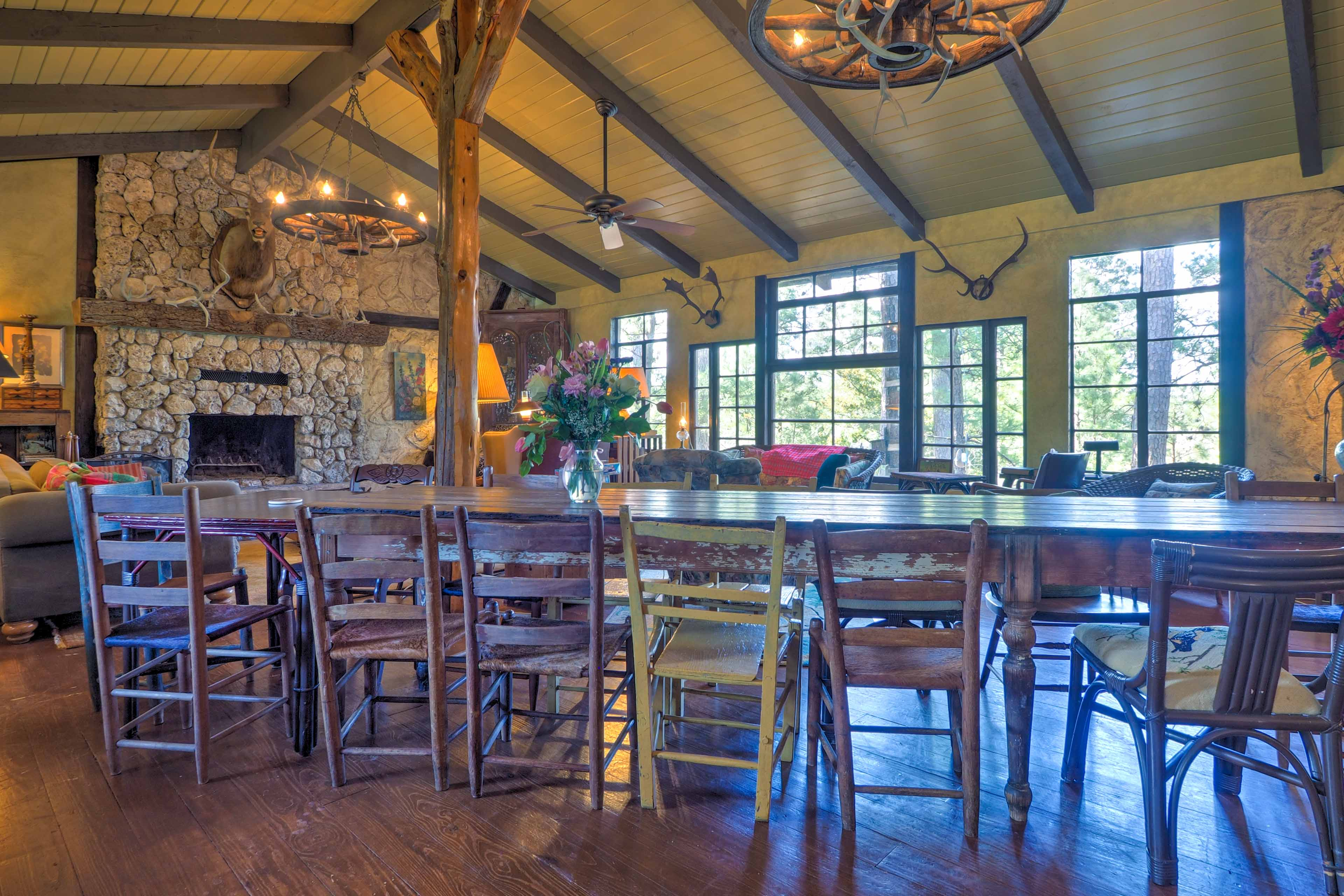 Gather with everyone at the large dining table to enjoy food and memories.