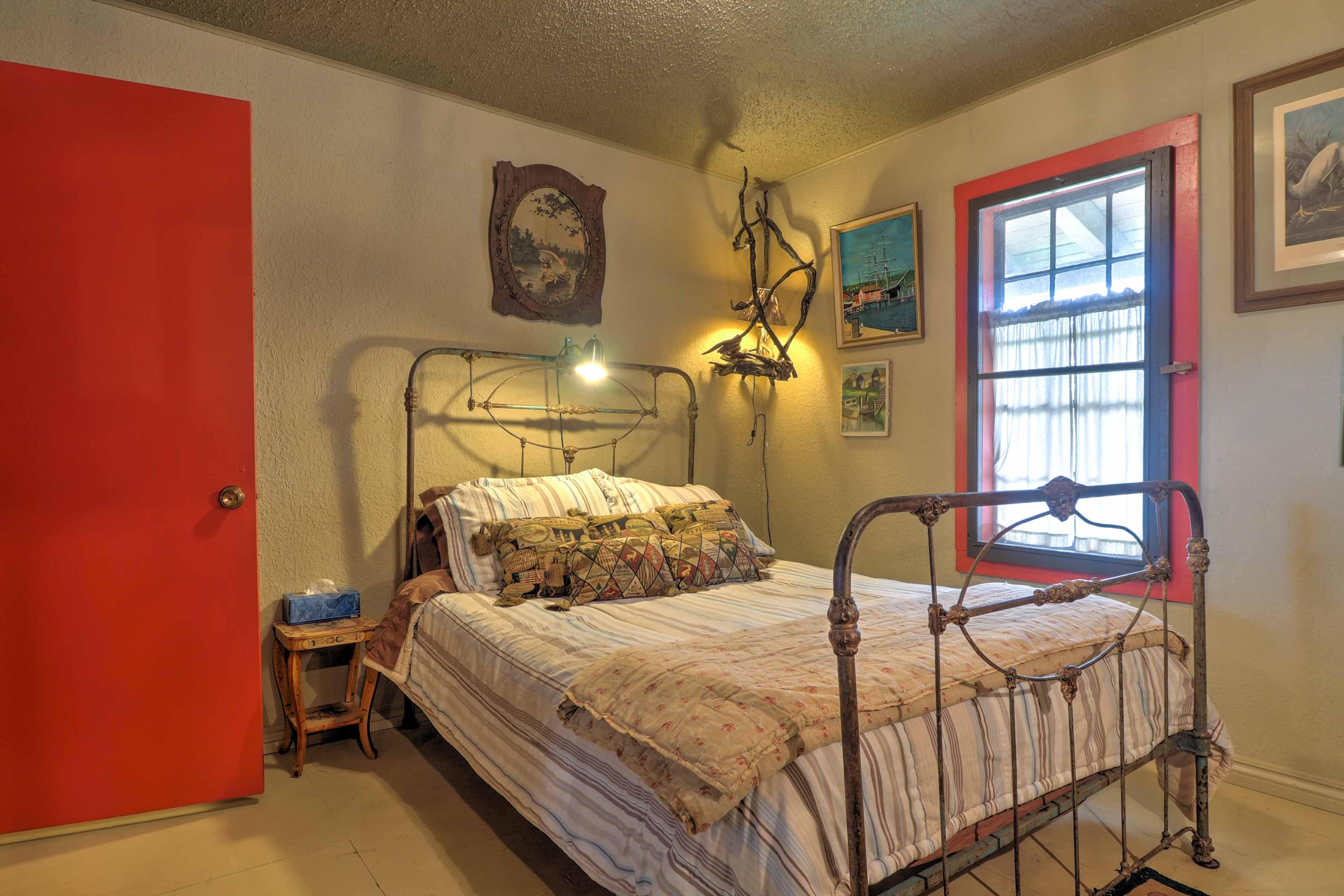 Each bedroom boasts unique, rustic decor.
