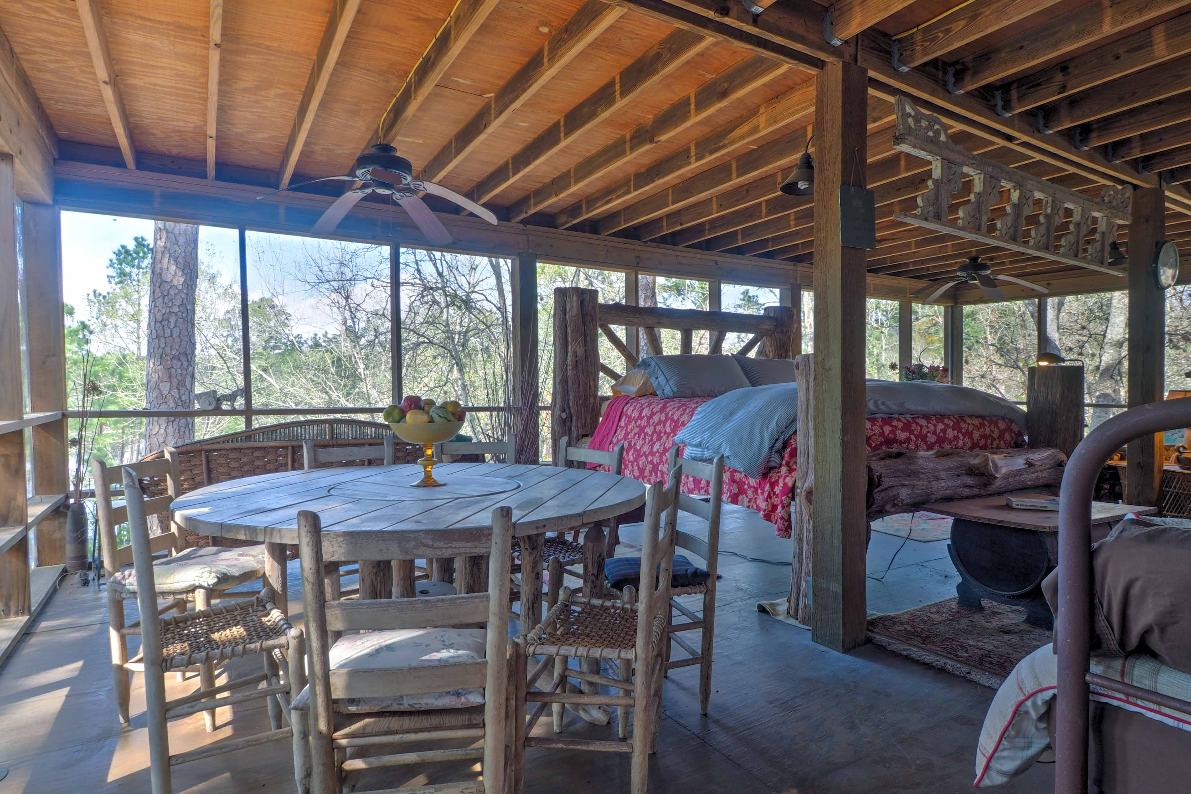 Opt for the outdoors and sleep on the screened in porch!