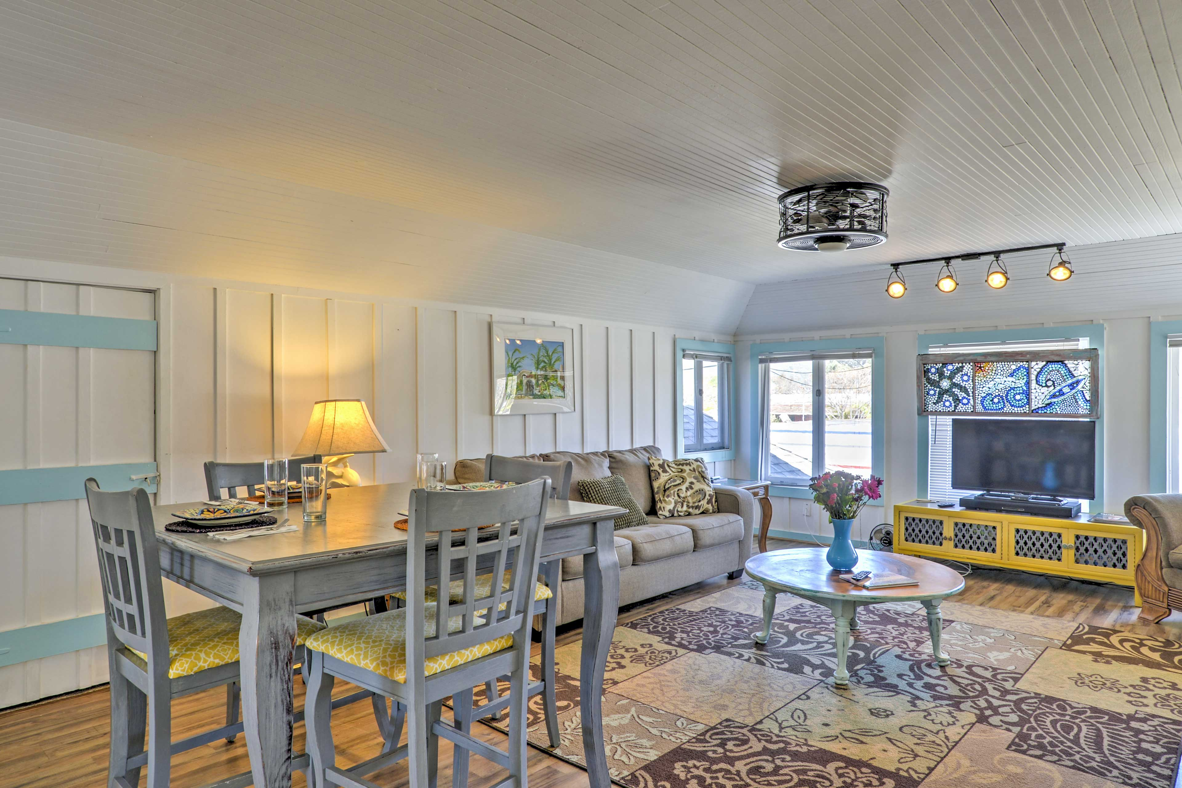 The stylish home boasts 900 square feet of comfortable living space.