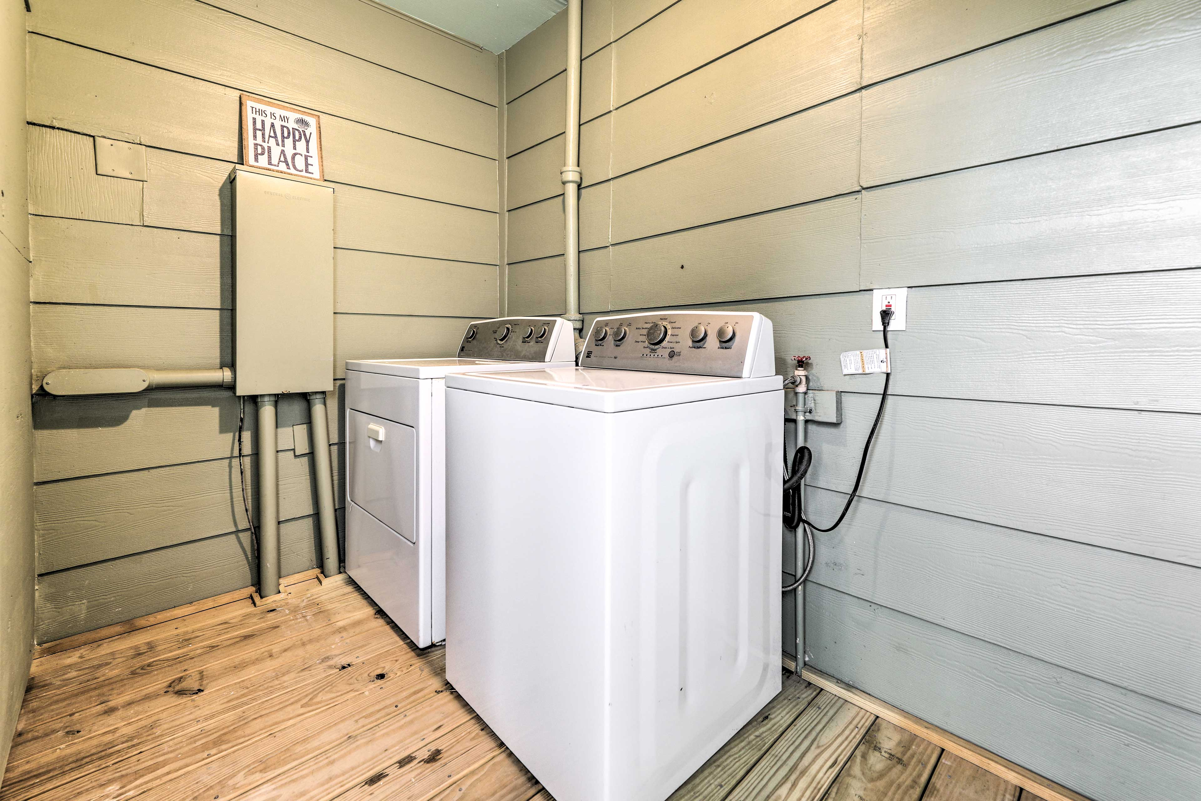 A washer and dryer add a convenient touch.