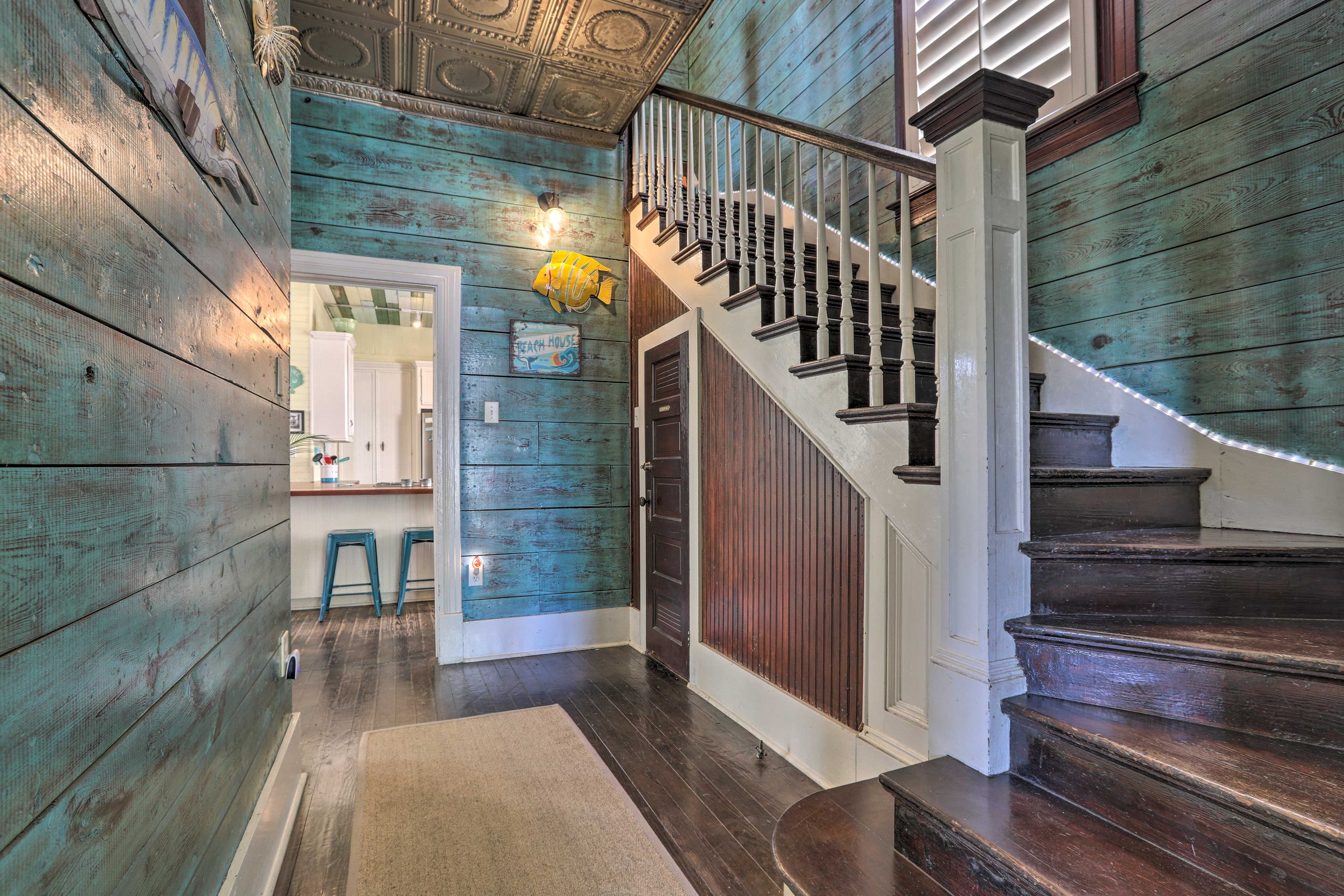 Step upstairs to access the other bedrooms.