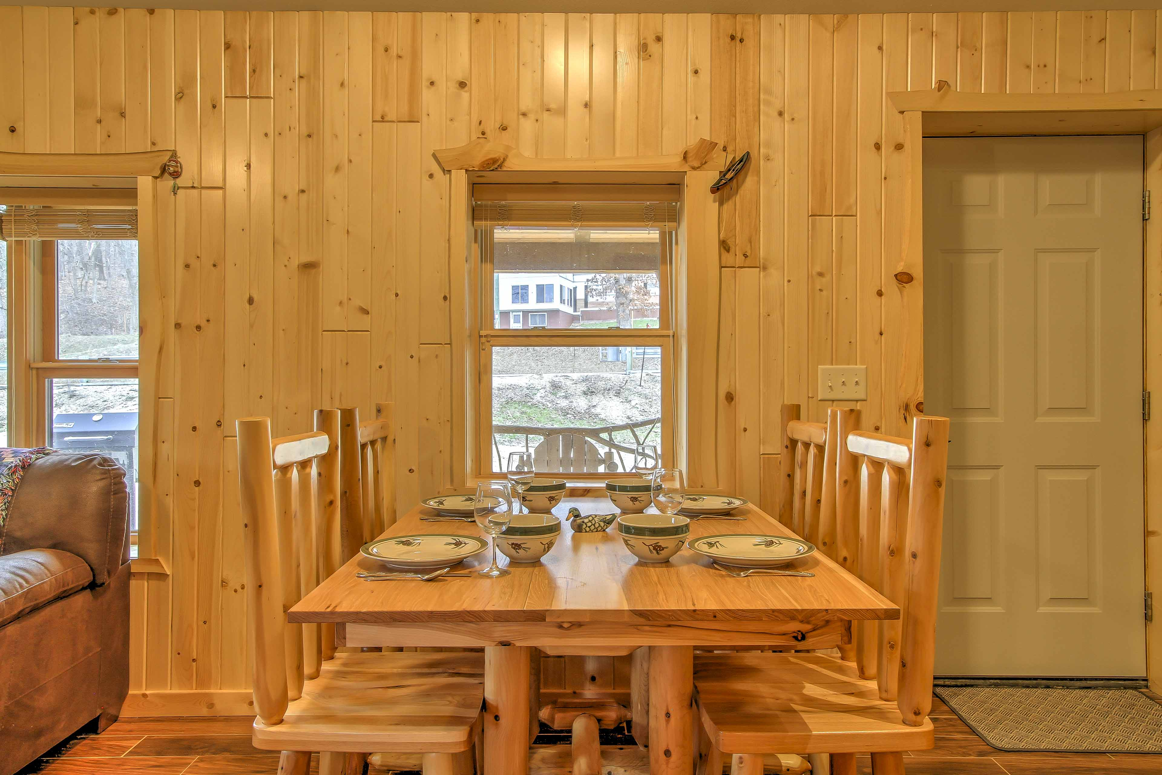 Dine at the kitchen table with seating for 4.