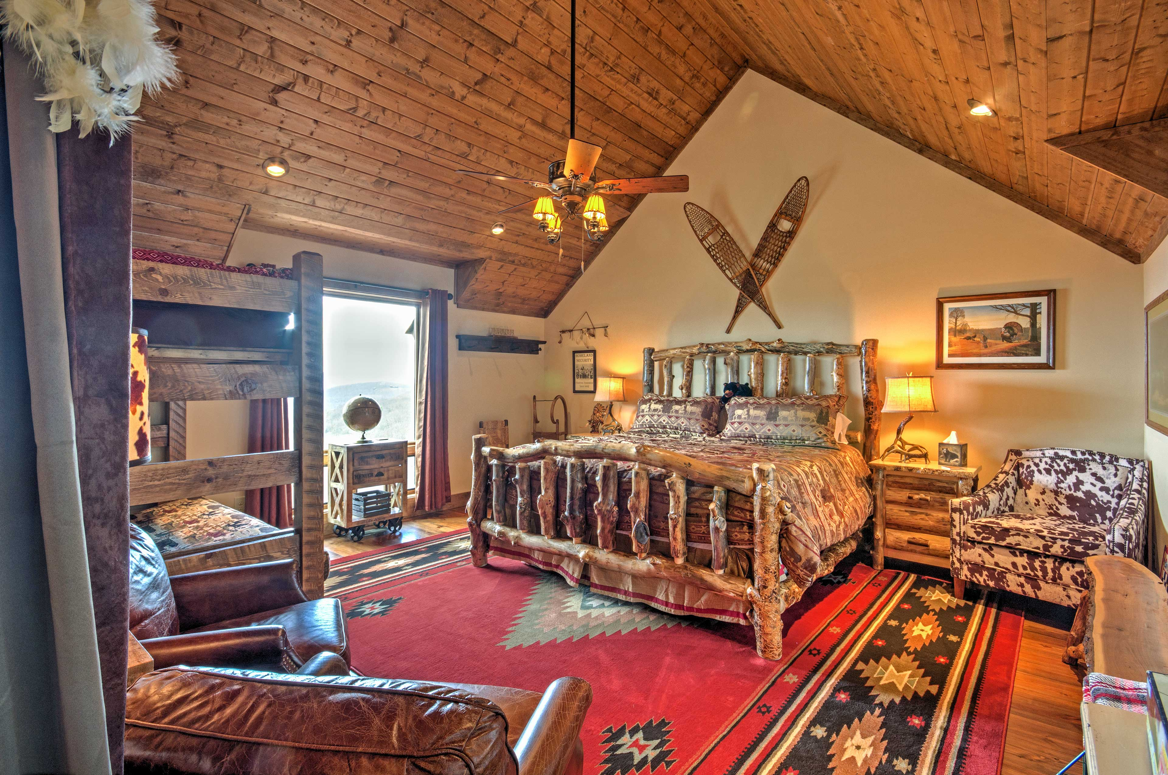 All the bedrooms in the cabin offer luxurious sleeping accommodations.