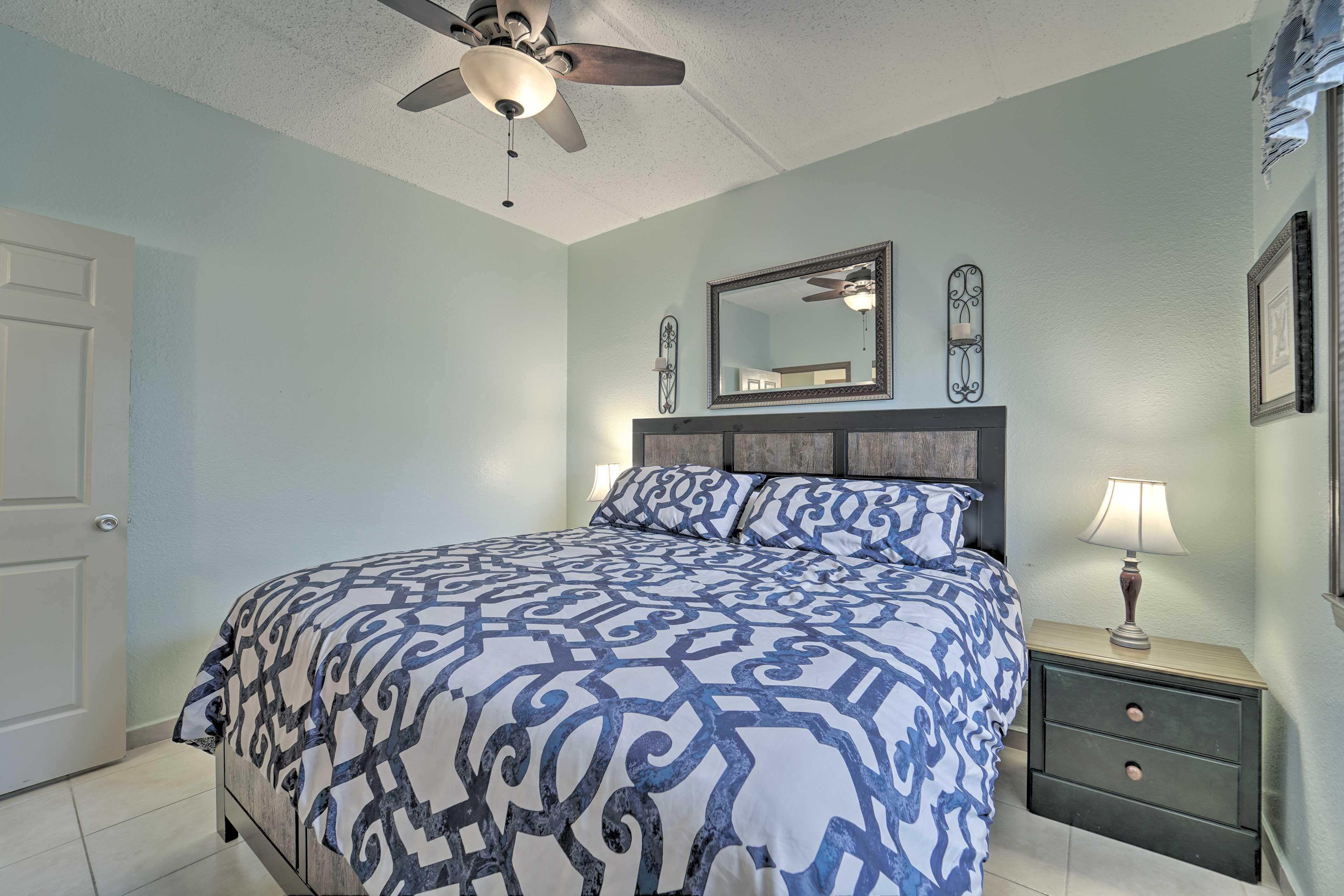 Retire to the bedroom for good night's sleep.