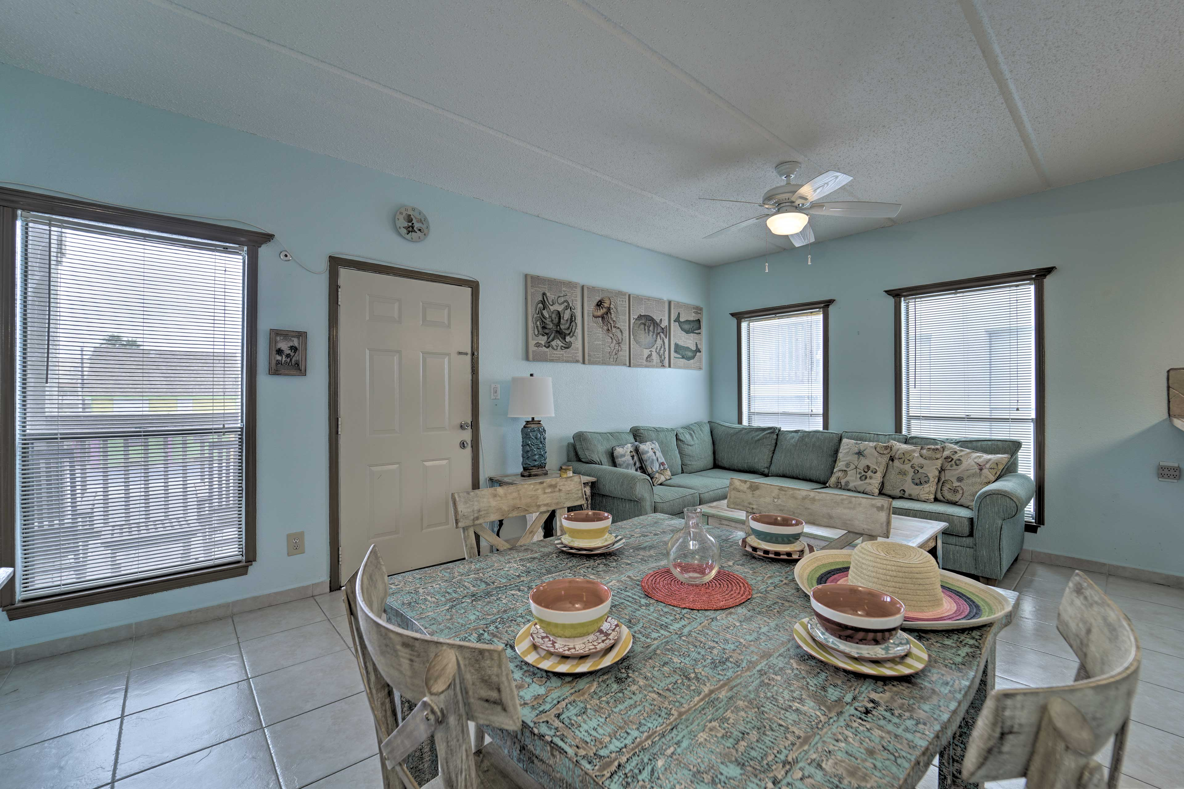 Enjoy meals from the kitchen at the dining table.