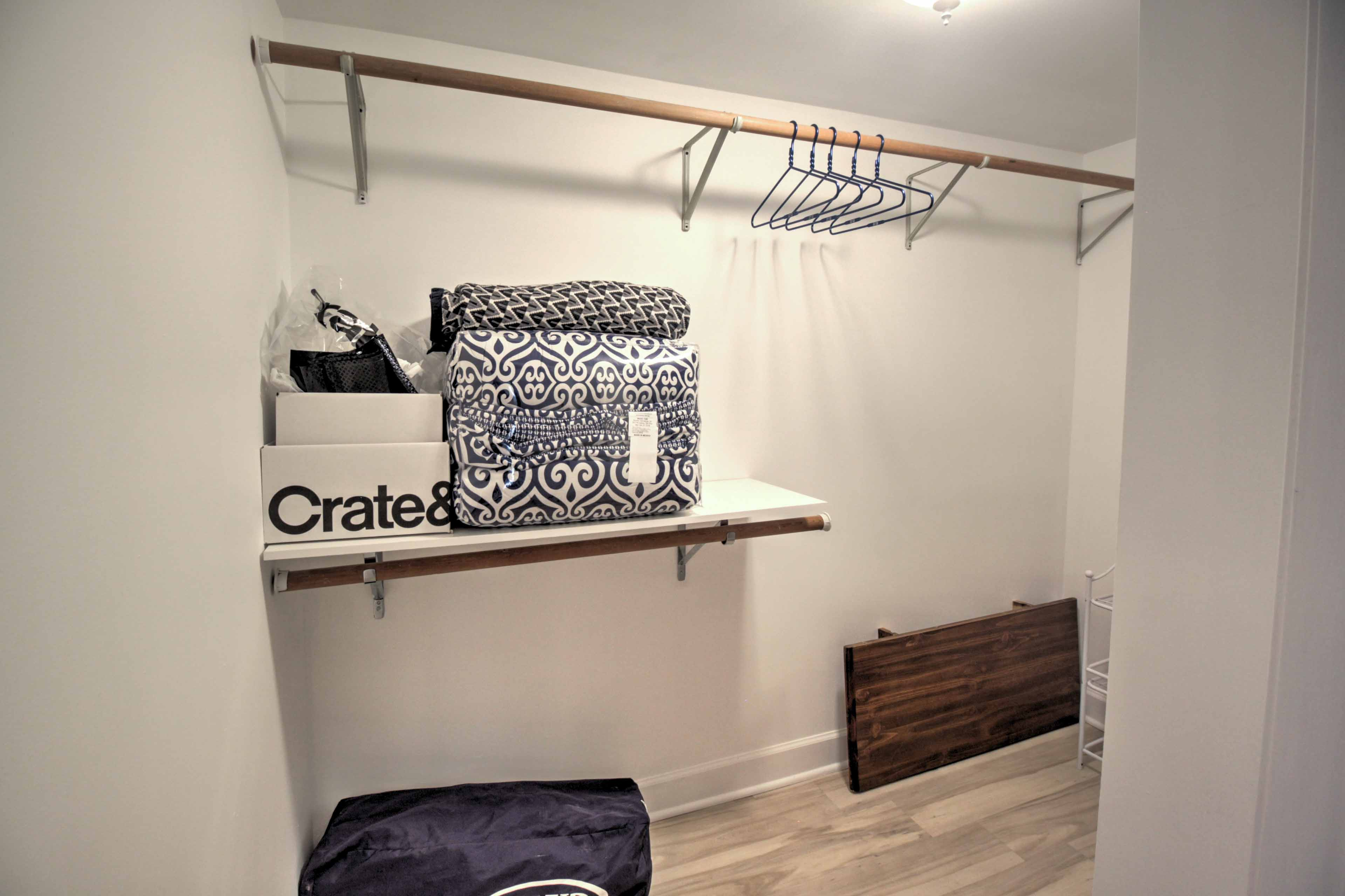 There's plenty of storage space in the closet!