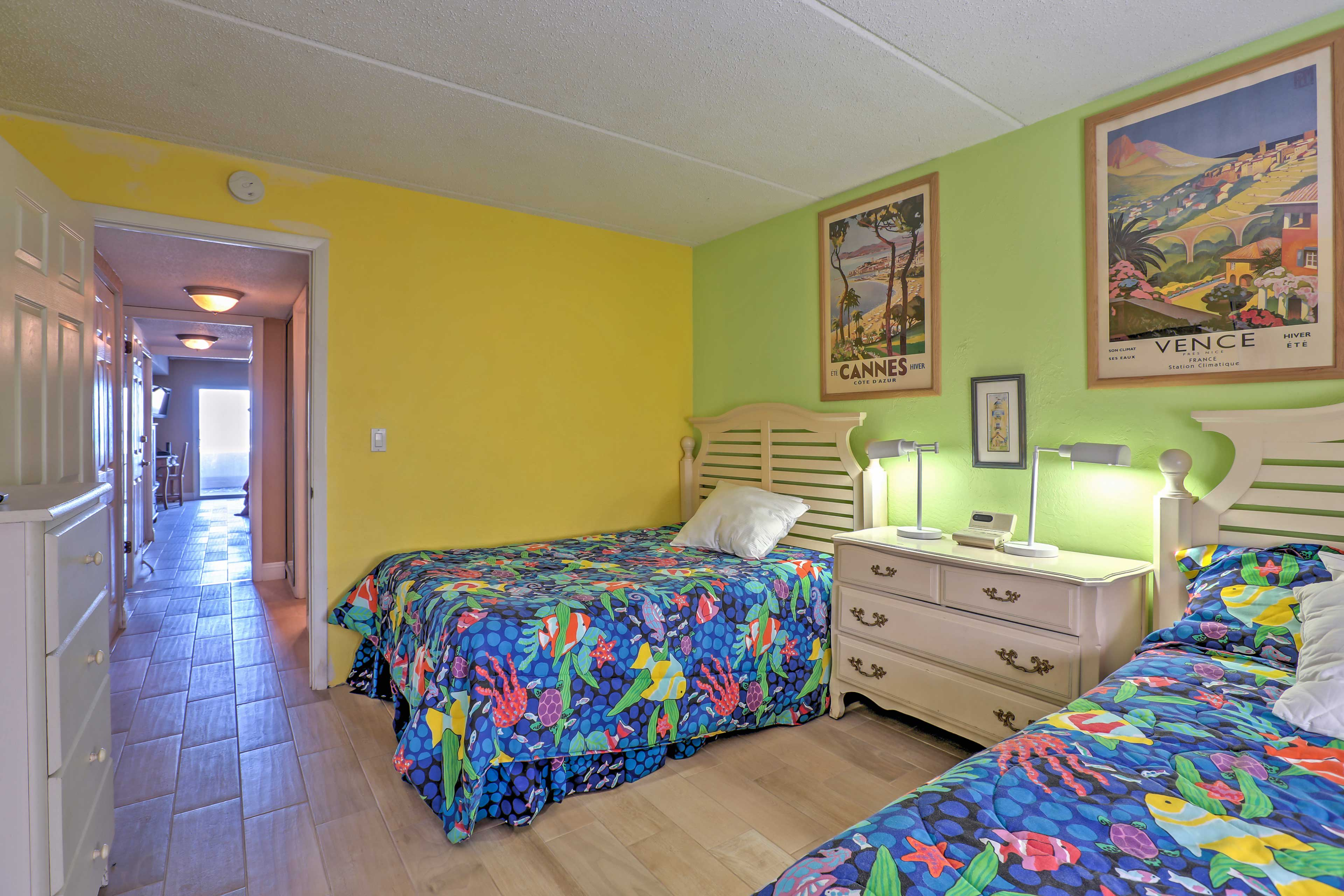 The second bedroom features 2 comfortable full beds.