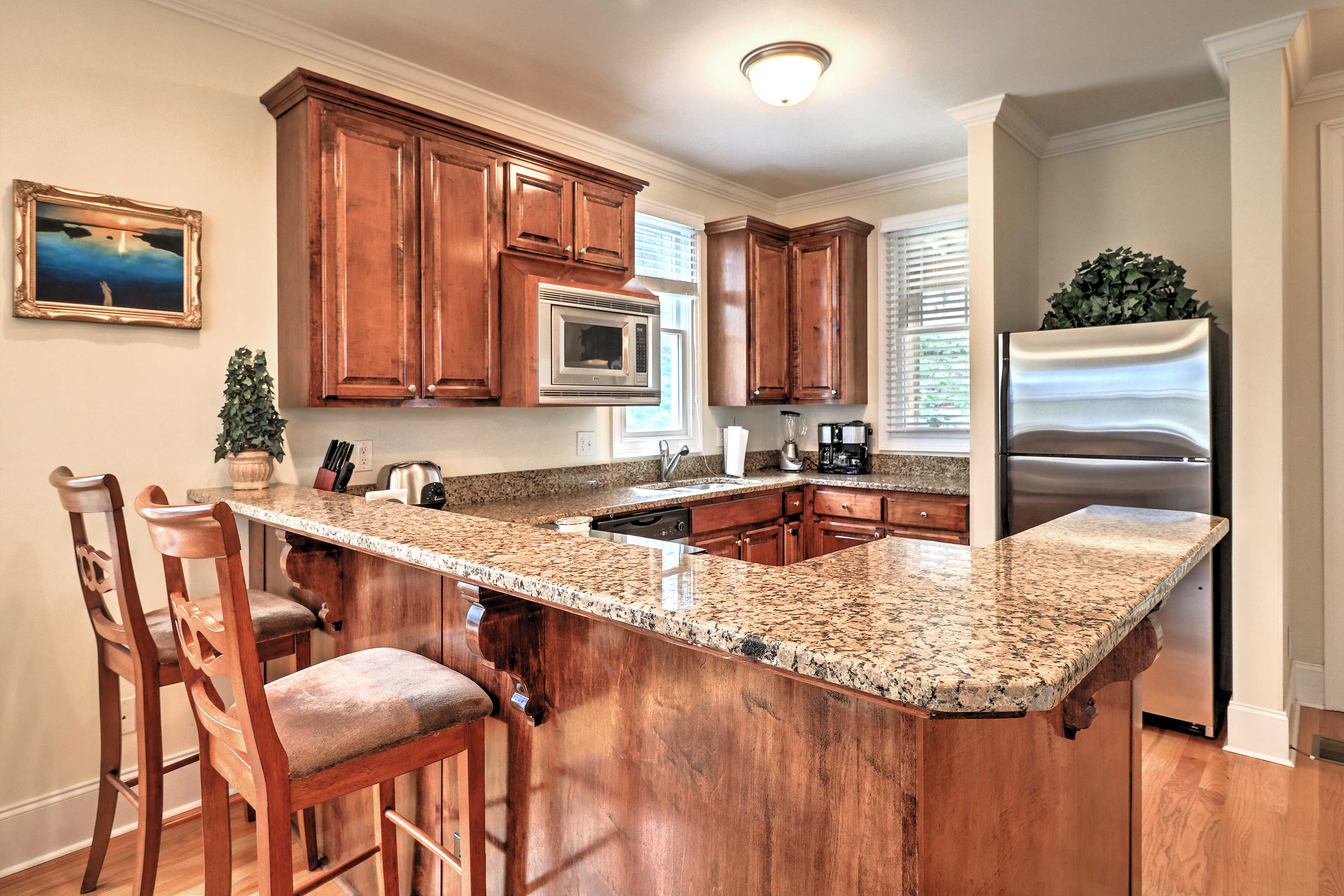Serve meals buffet-across granite bar tops for a casual setting.