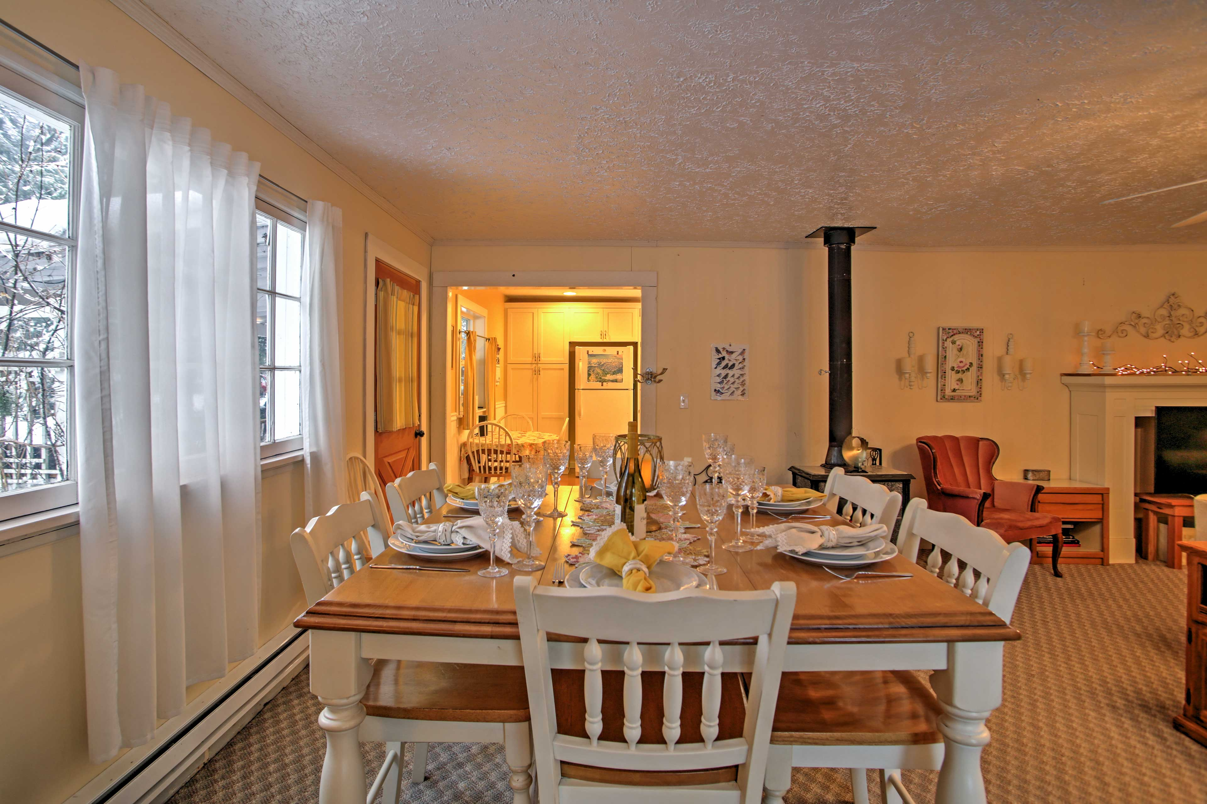 Gather around the dining table to enjoy home-cooked meals.