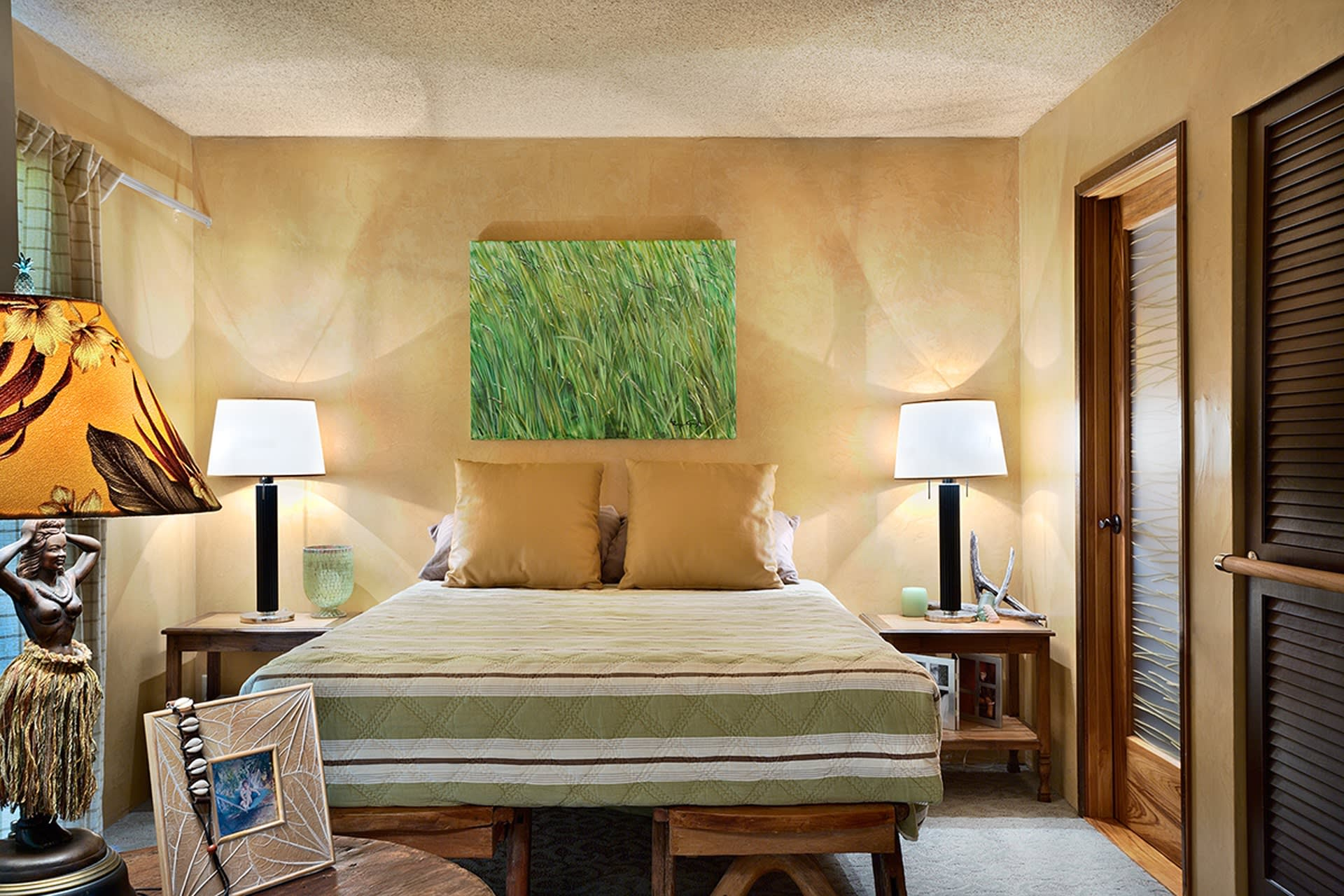 Doze off in this queen-sized bed.