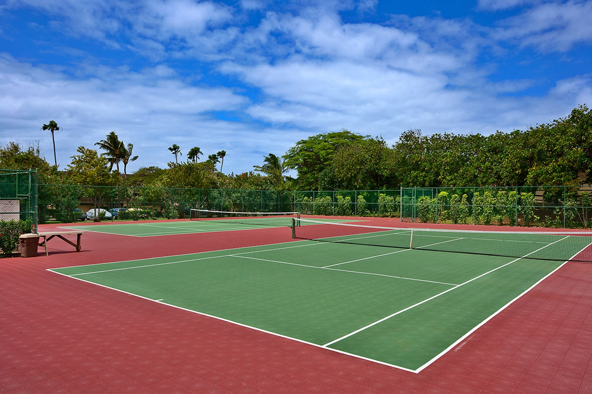 Stay in shape with a friendly game of tennis.