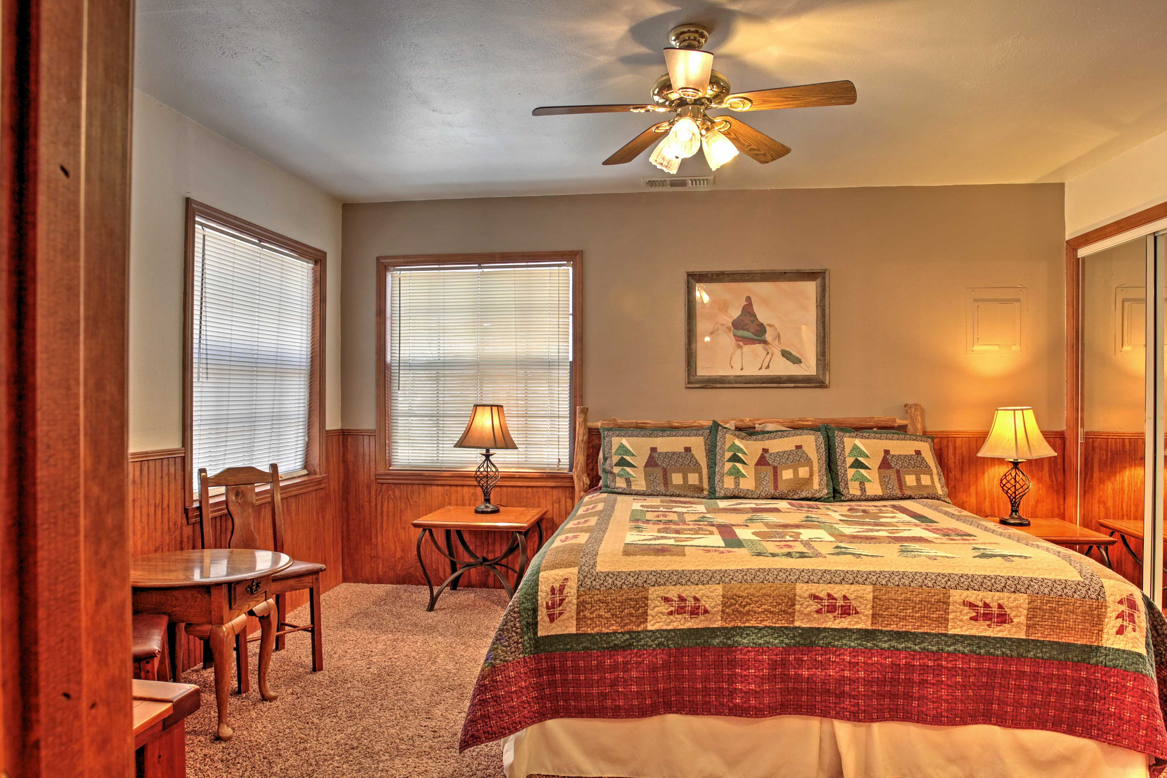Turn on the ceiling fan for a cool breeze as you sleep the night away.