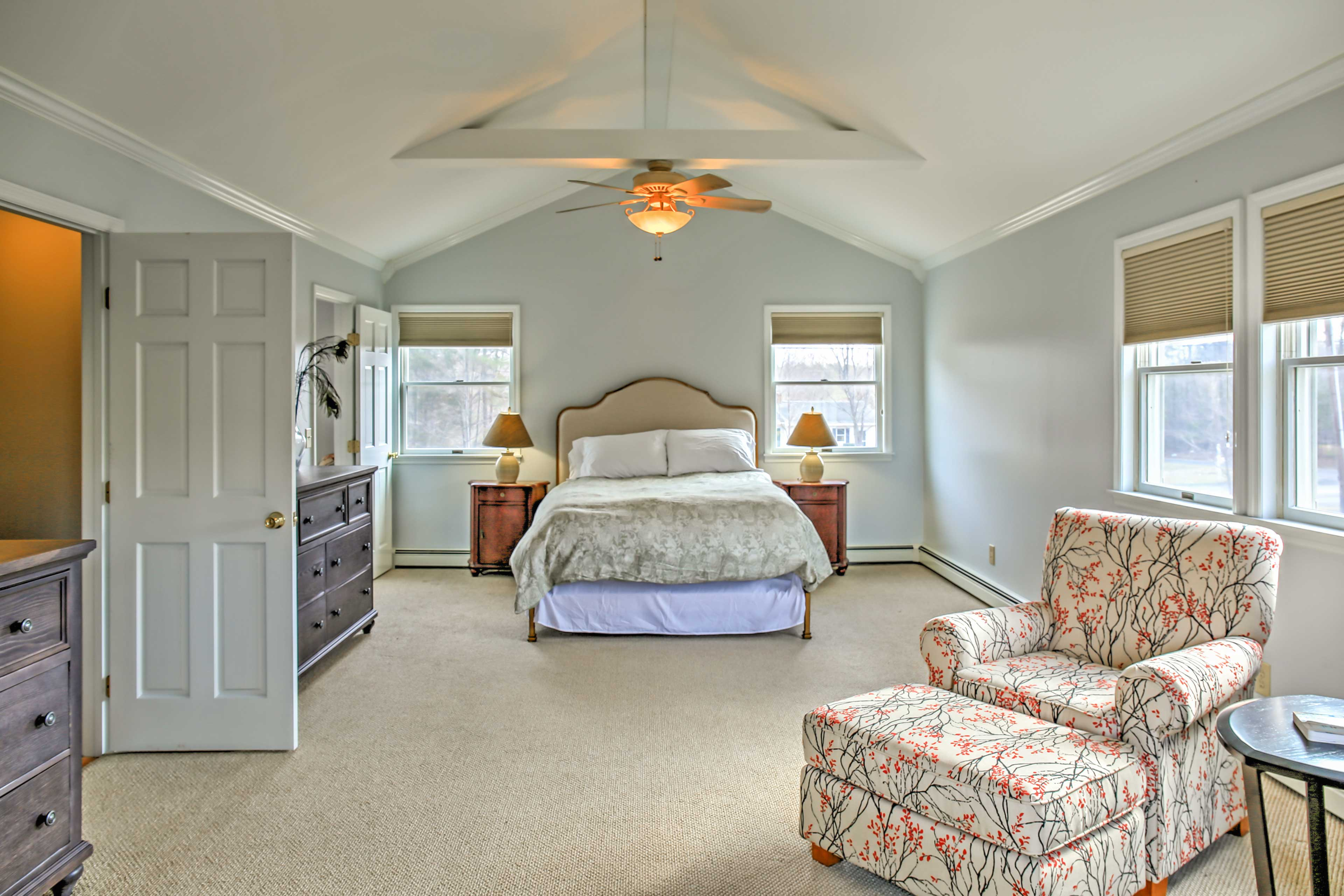 Curl up under the covers in this master suite.
