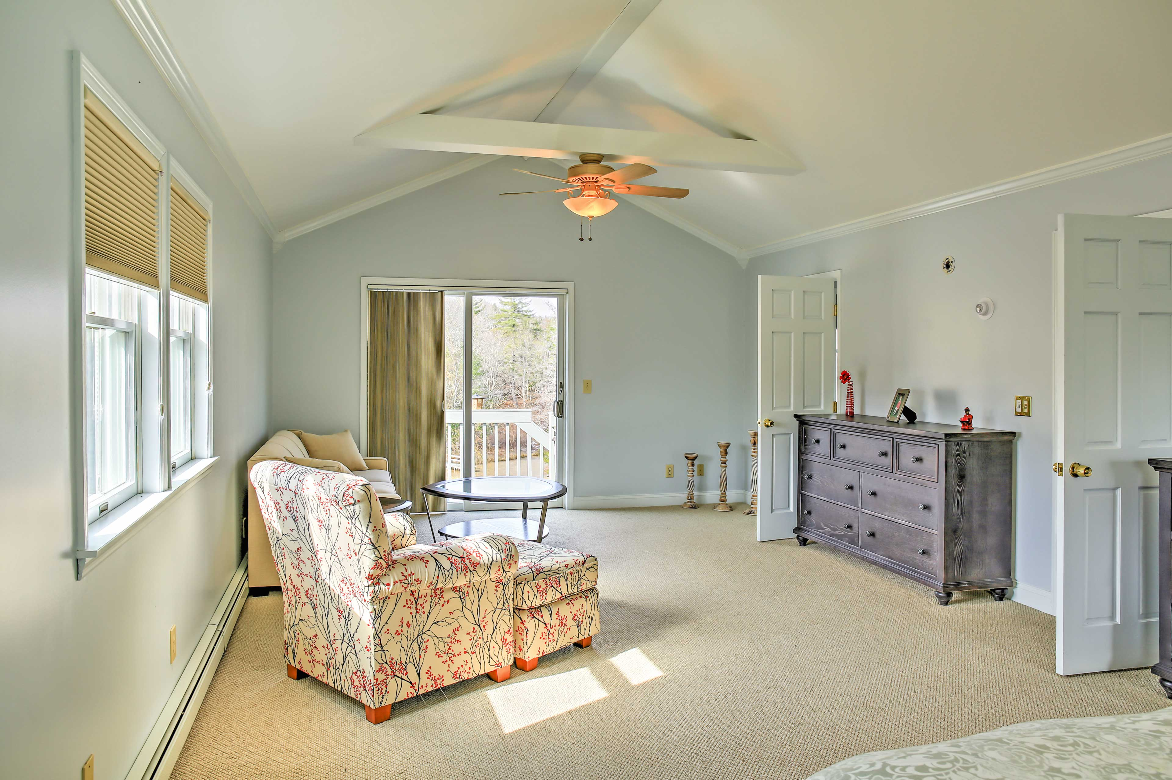 The master includes a queen bed and a queen-sized sleeper sofa.
