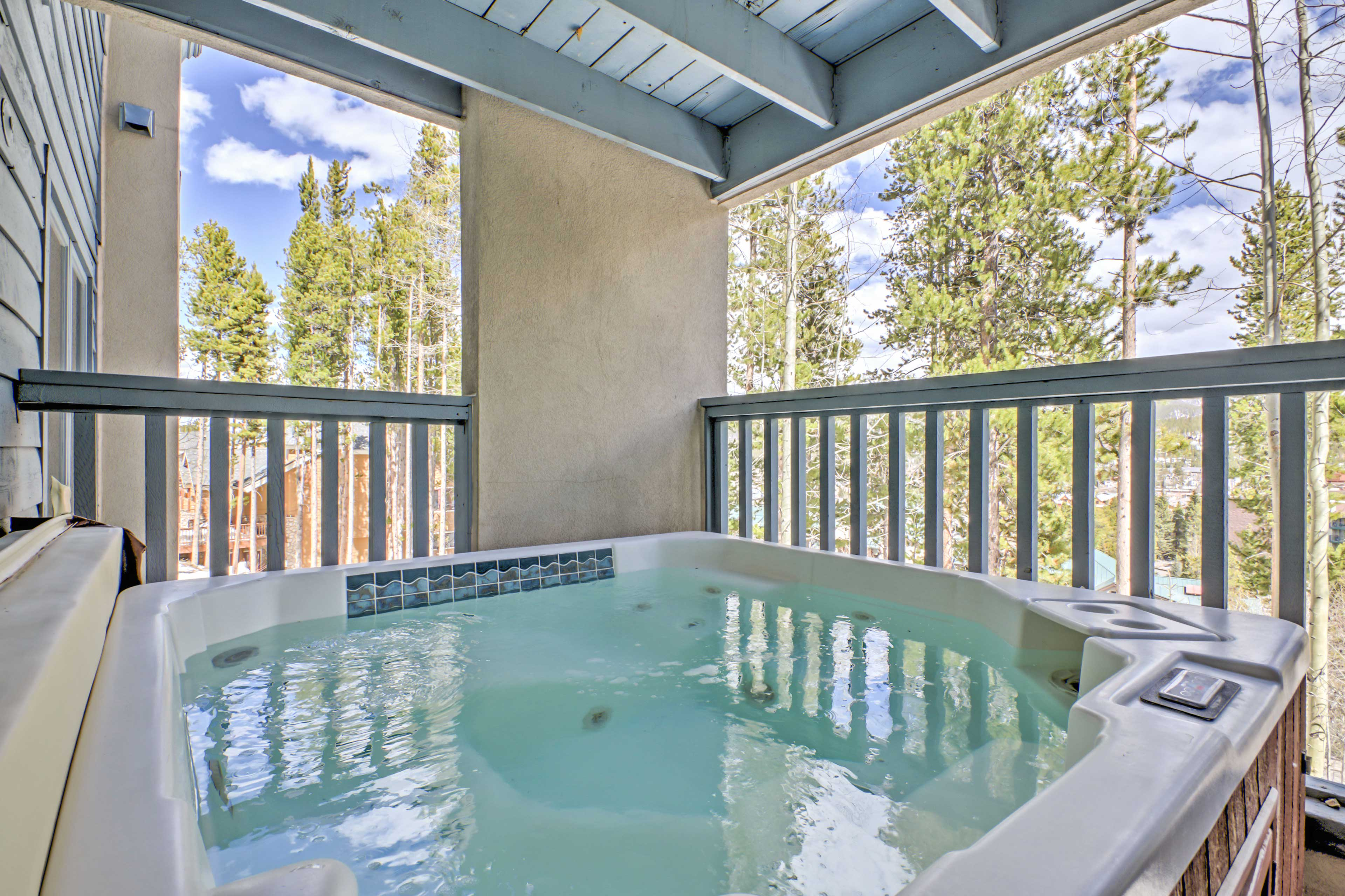 After days exploring the slopes, soak in your private hot tub.
