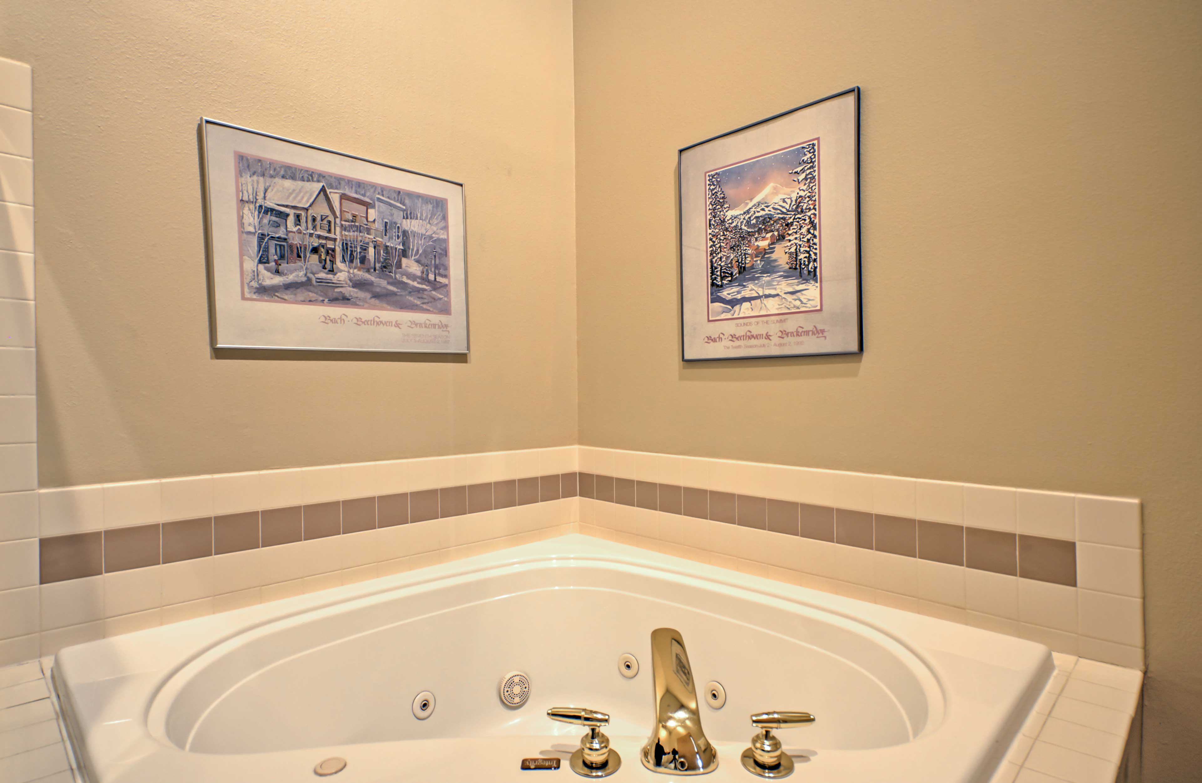 Freshen up in the jacuzzi tub in the master bathroom.