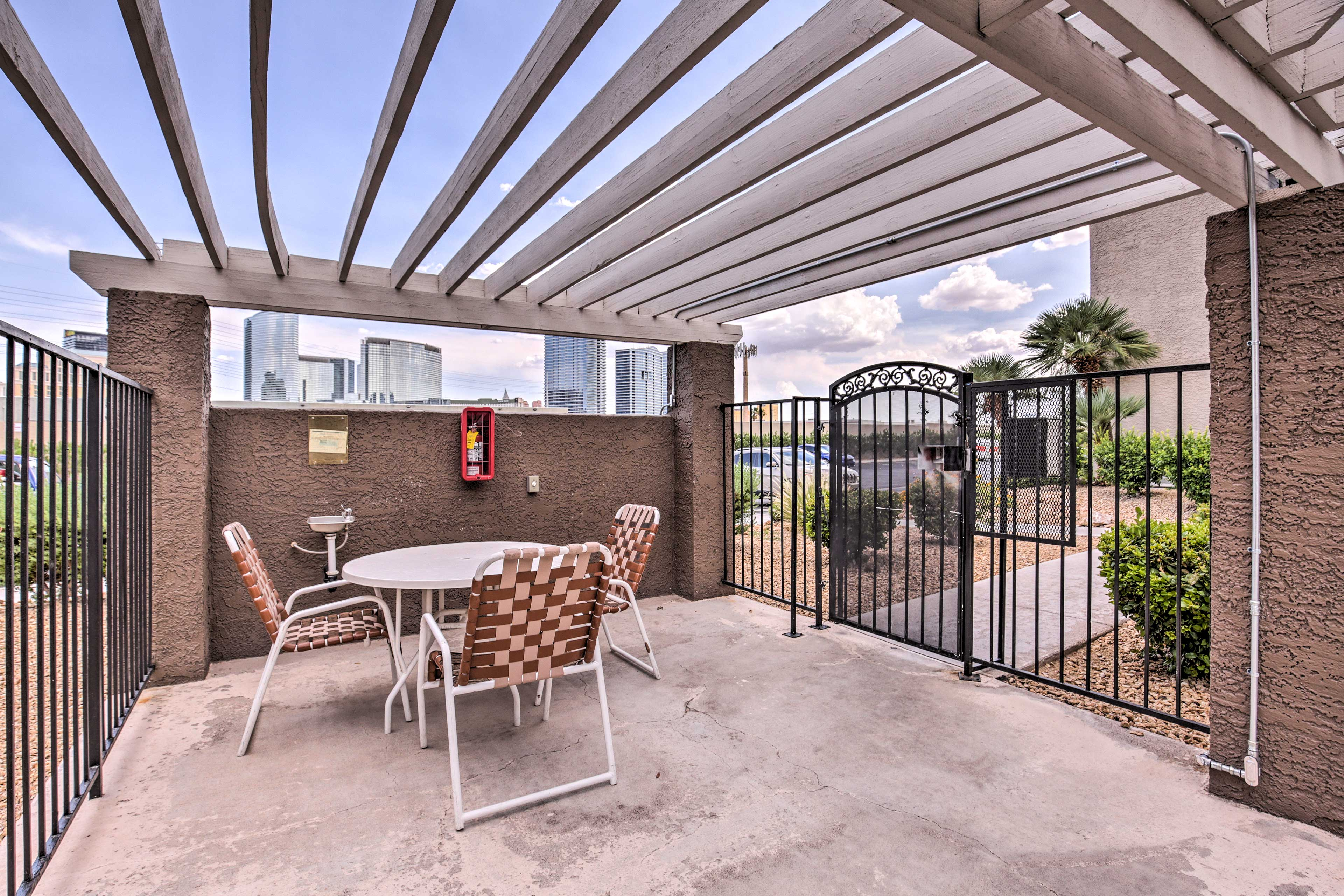 Enjoy an al fresco dining experinece at this community table.