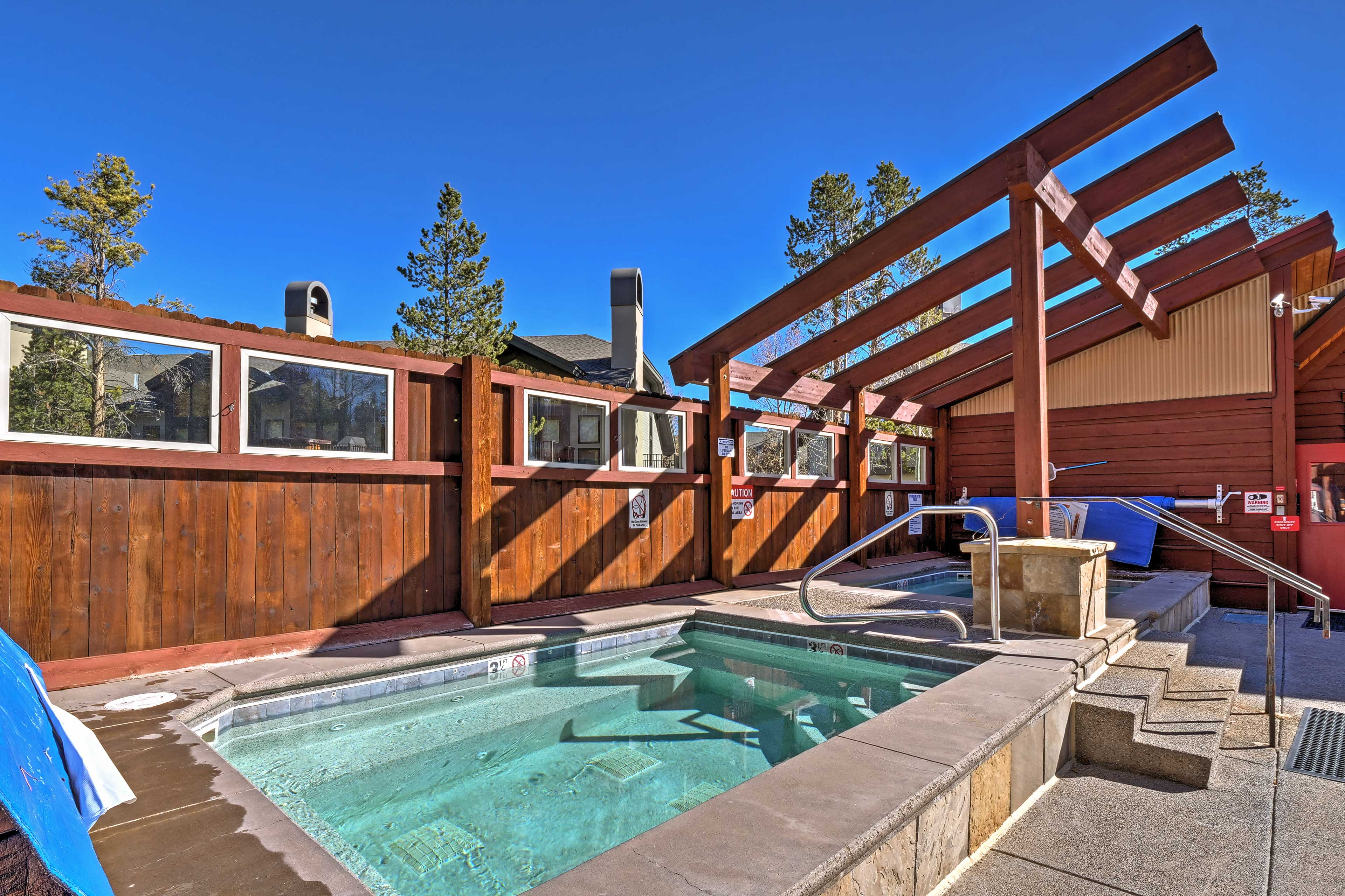 The community features outdoor and indoor pools and hot tubs.