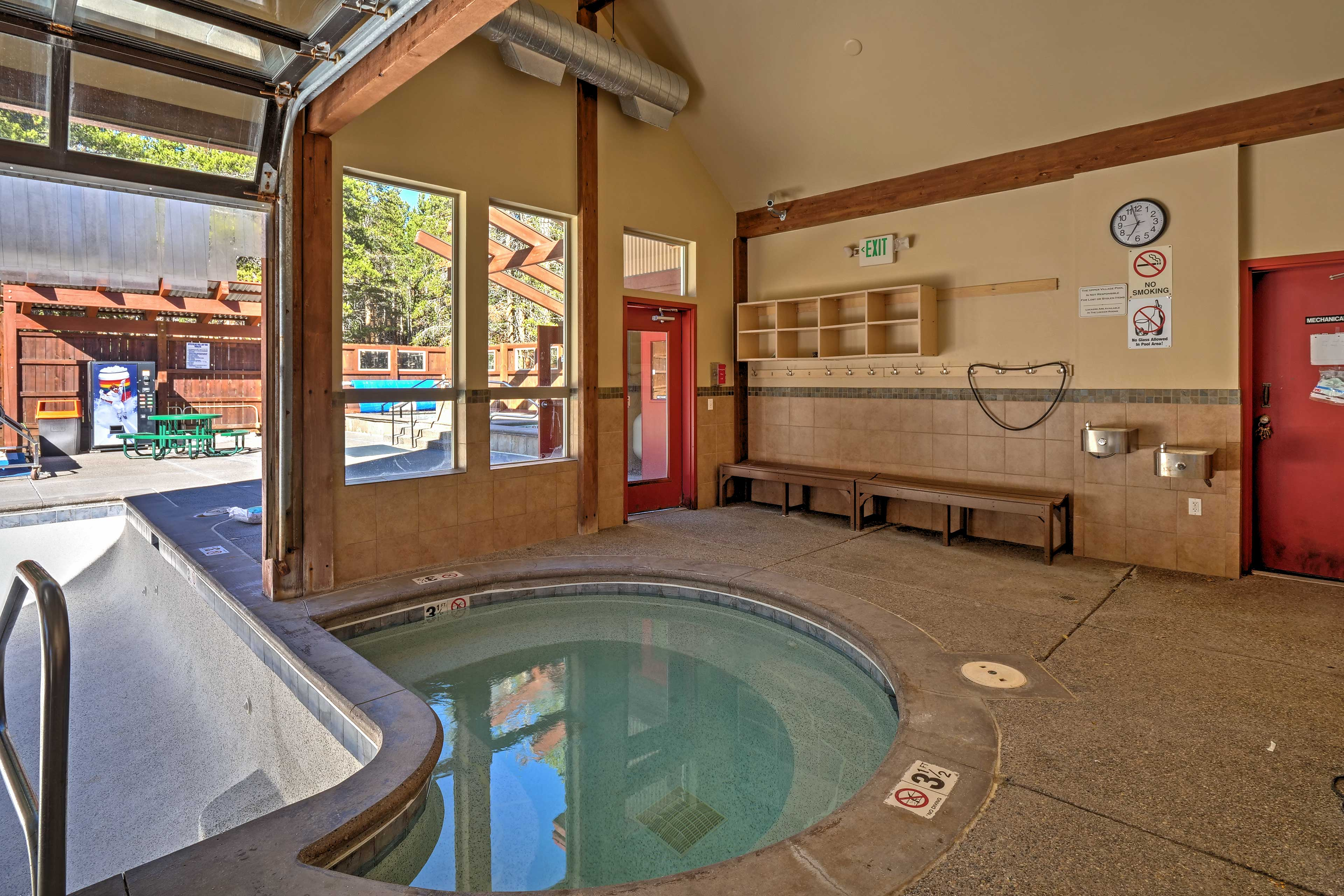 On colder days, enjoy an evening soak in the indoor hot tub.