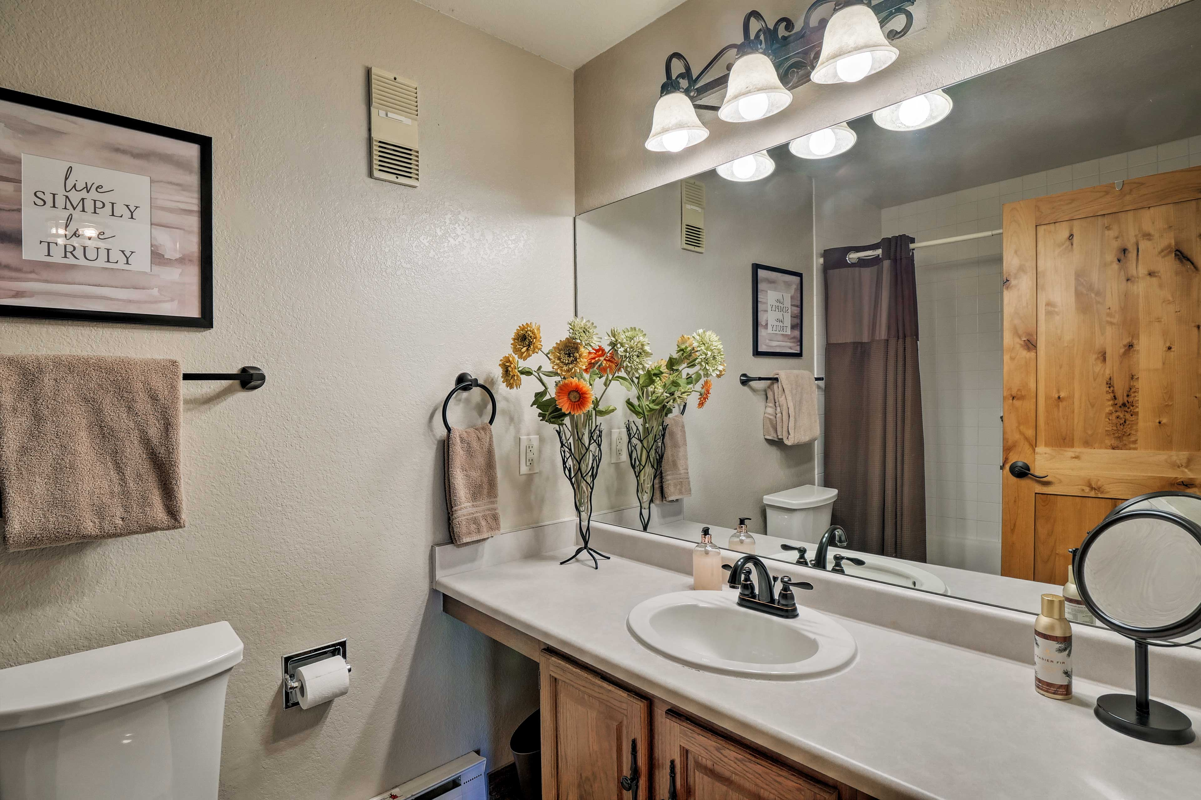 Get ready for bed in the en-suite bathroom.