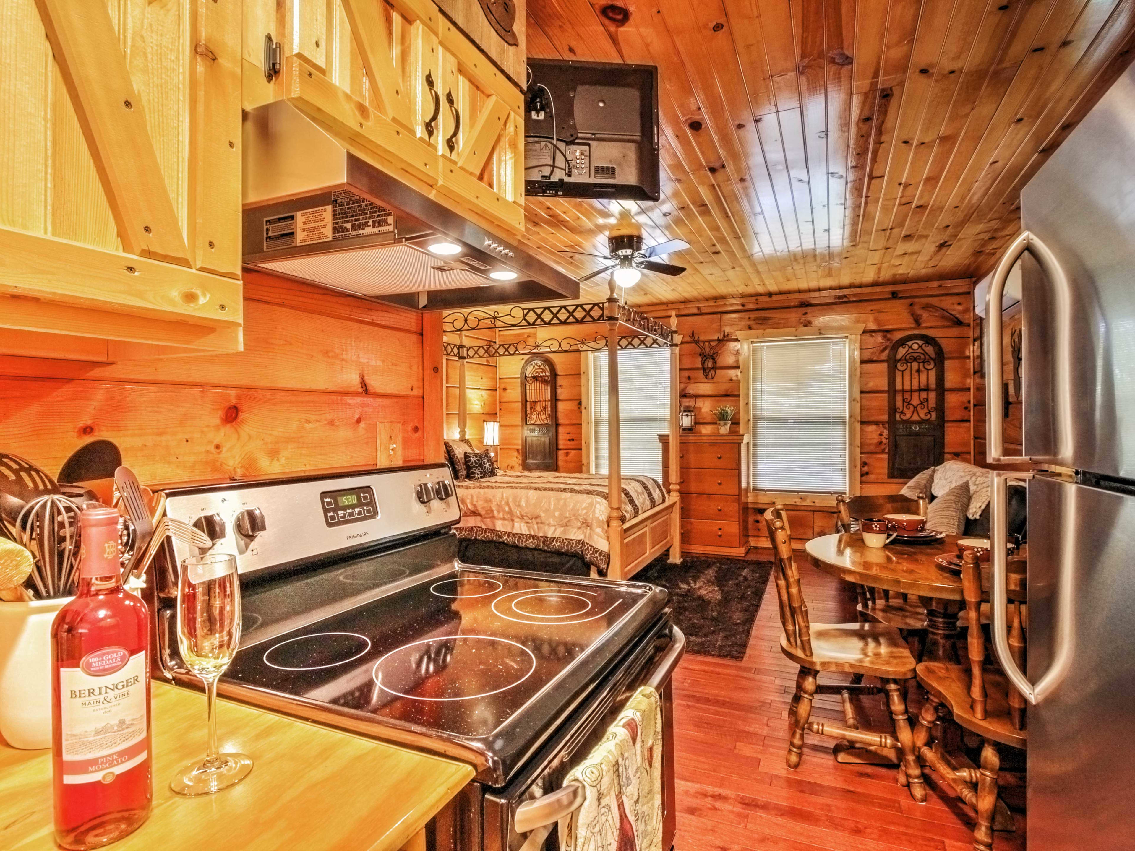 Whip up delicious home-style meals in the well-equipped kitchen.
