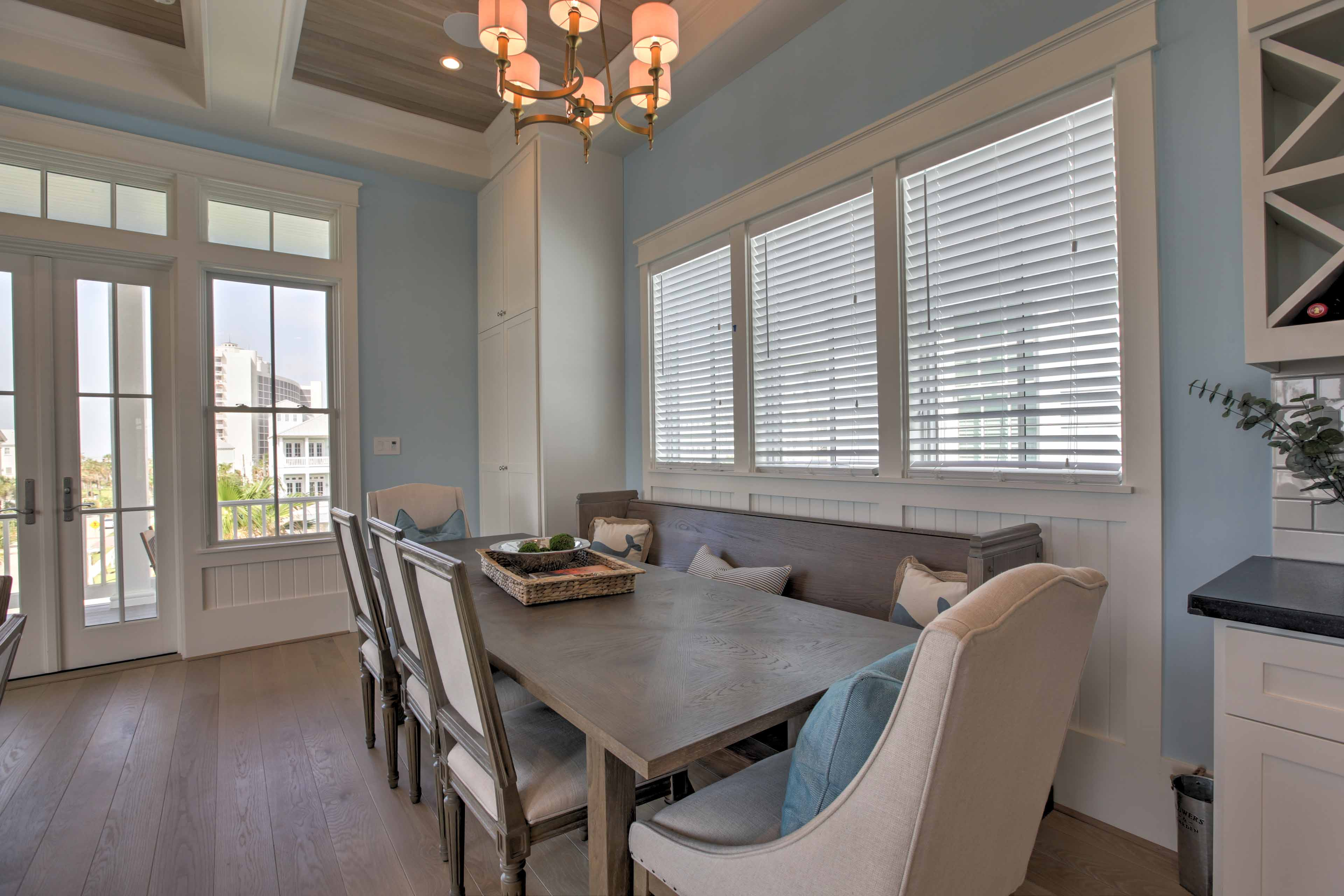All of the guests in your travel group can dine and play board games together at the dining table.