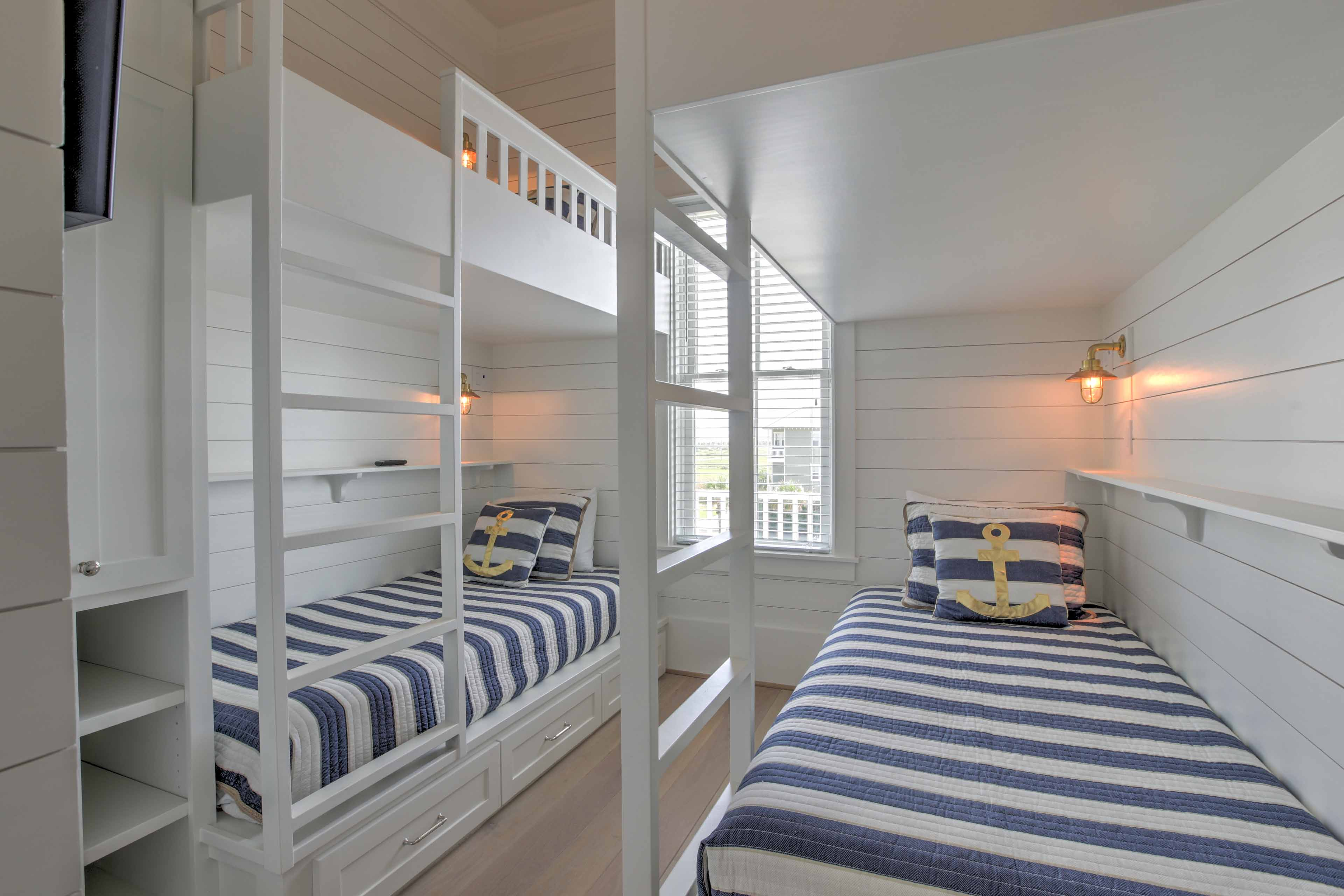 The kids will love the third bedroom with a bunk bed.